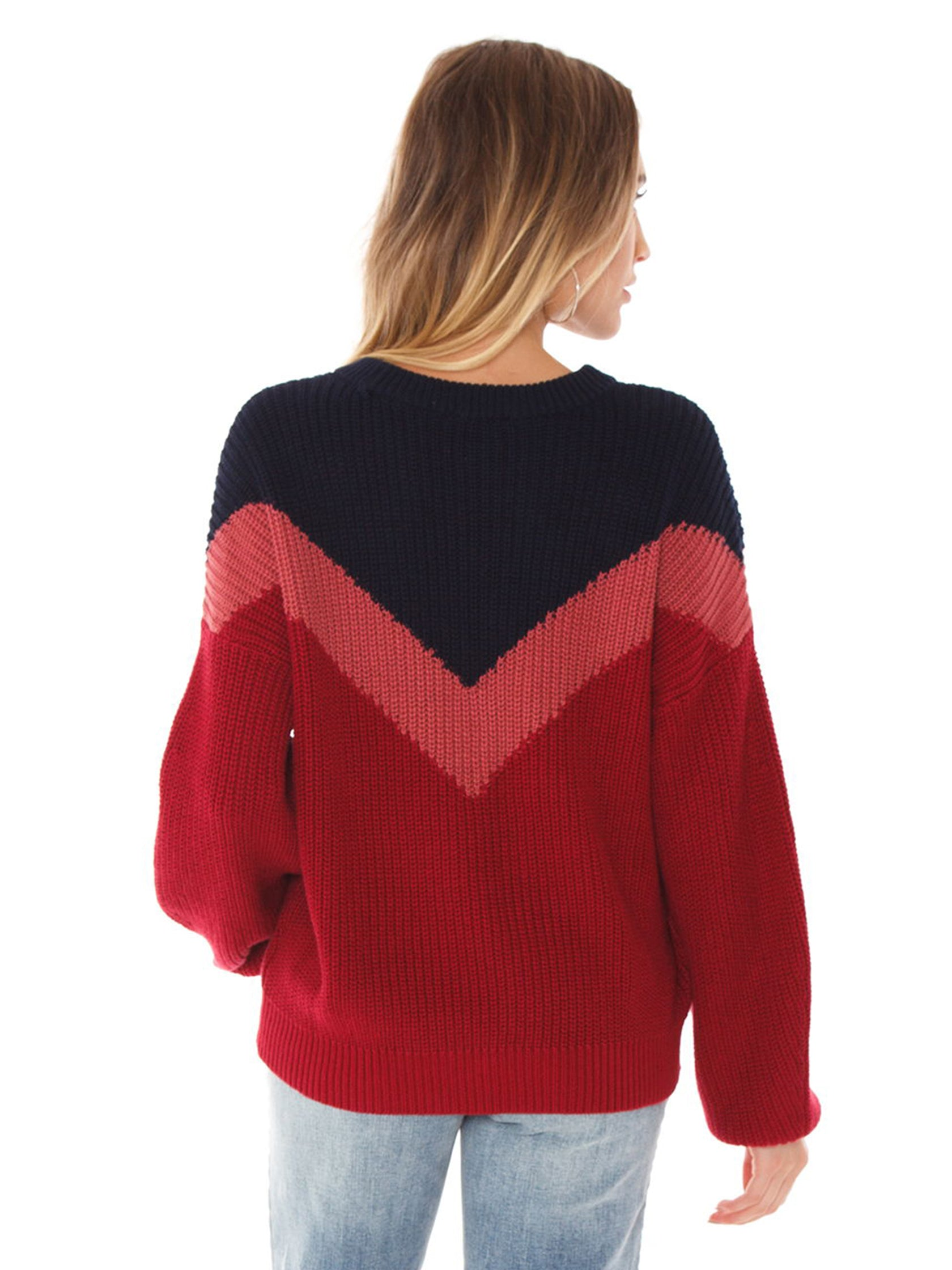 Women outfit in a sweater rental from 1.STATE called Chevron Front Shaker Crew Neck Cotton Sweater
