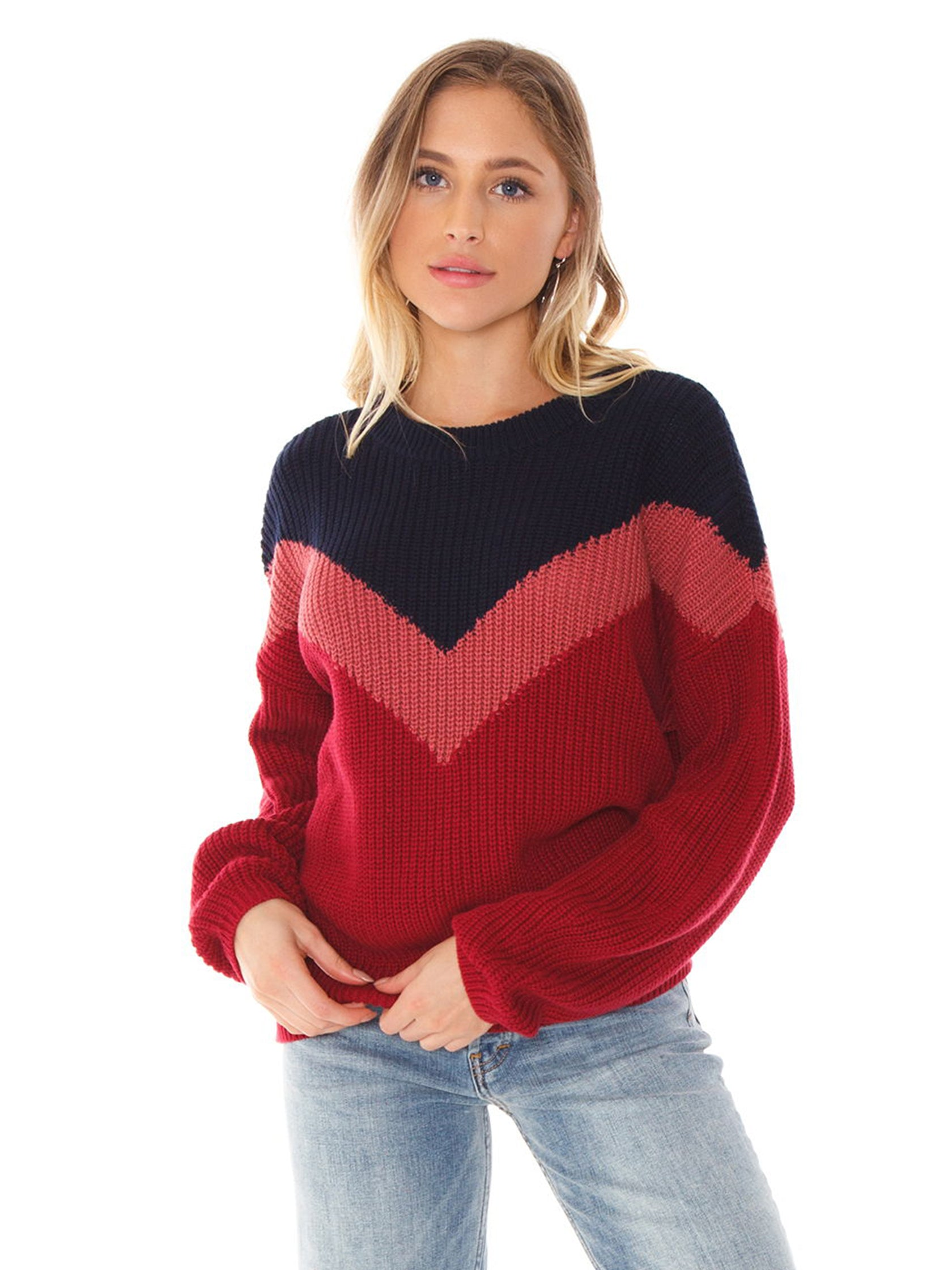 Woman wearing a sweater rental from 1.STATE called Chevron Front Shaker Crew Neck Cotton Sweater