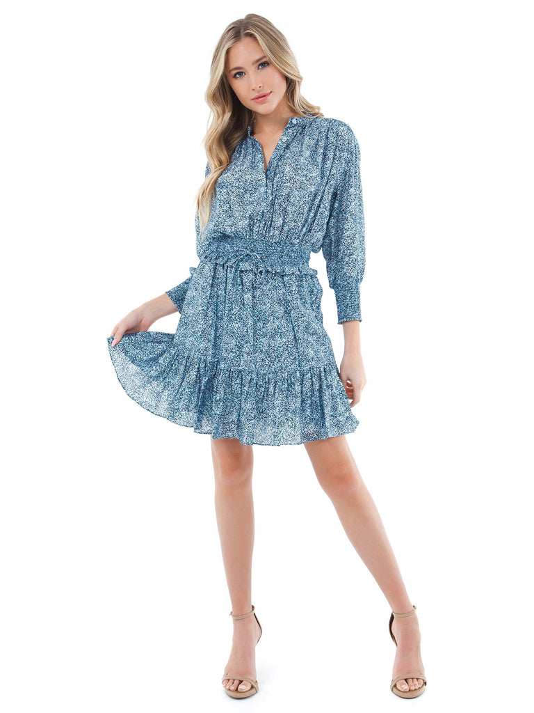 Women outfit in a dress rental from REBECCA MINKOFF called Neva Velvet Smocked Waist Top