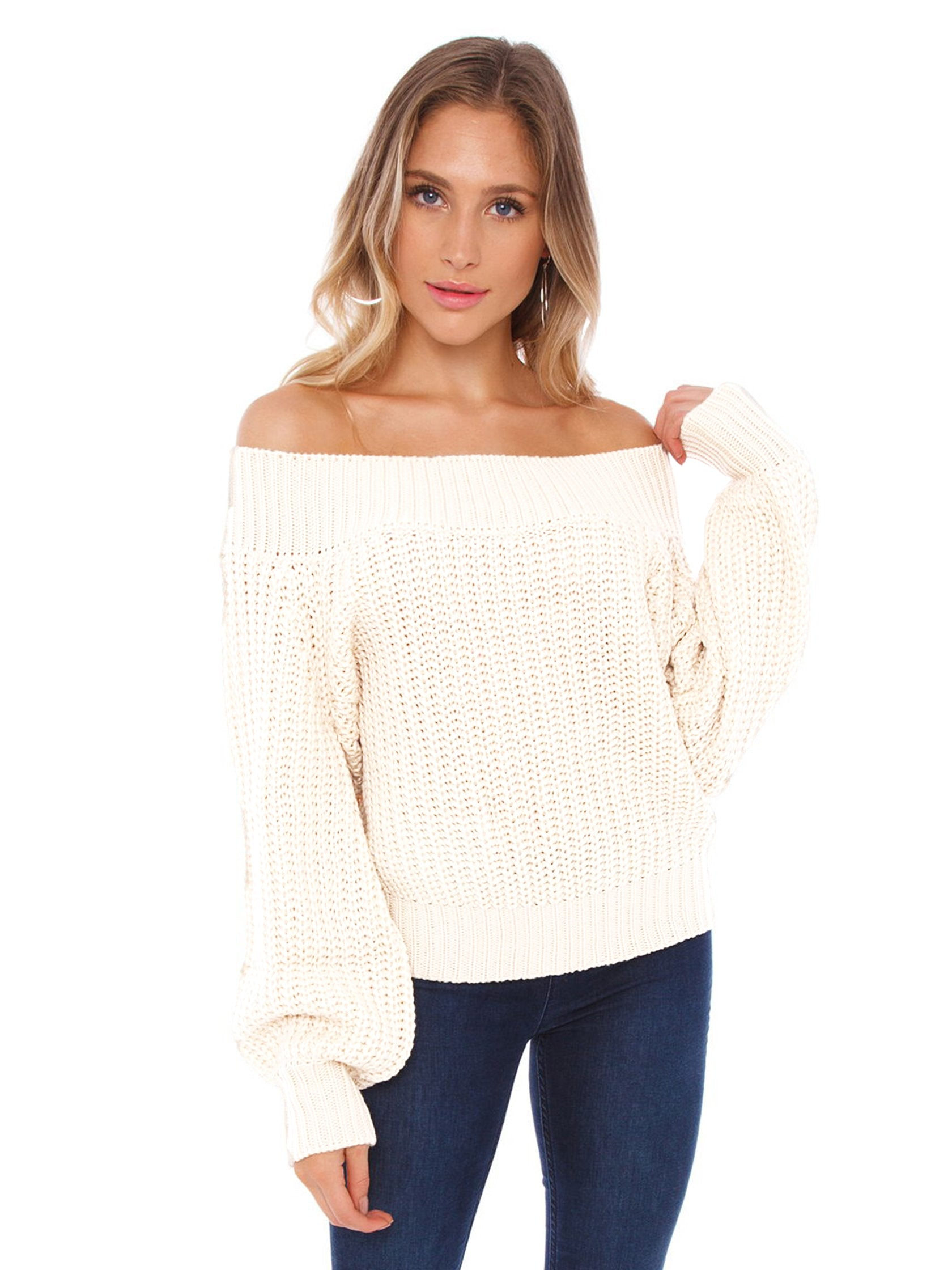 Girl outfit in a sweater rental from FASHIONPASS called Chrissy Off Shoulder Sweater