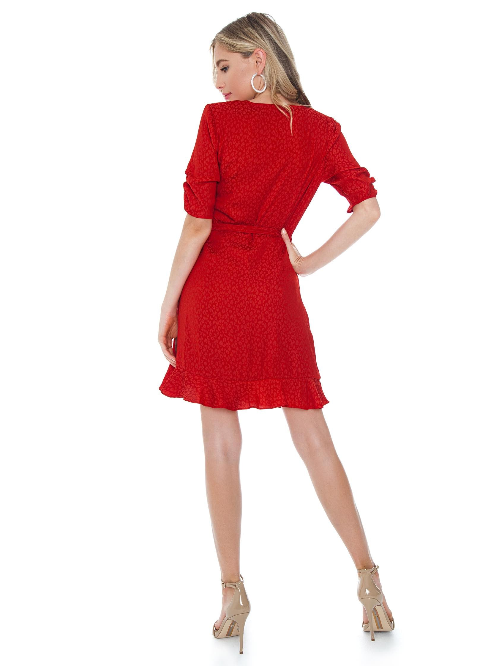 Women wearing a dress rental from 1.STATE called Cinched Sleeve Tonal Leopard Wrap Dress