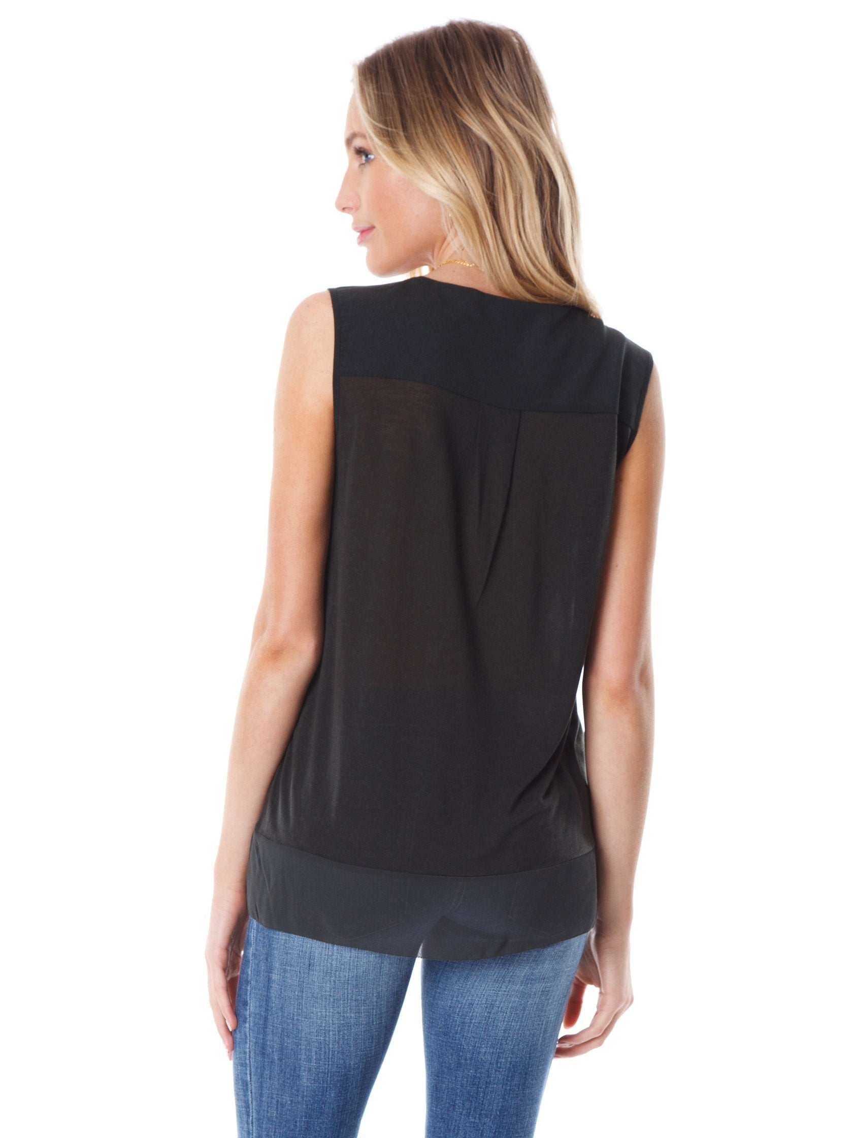 Women outfit in a top rental from French Connection called Classic Crepe Light Sleeveless Top