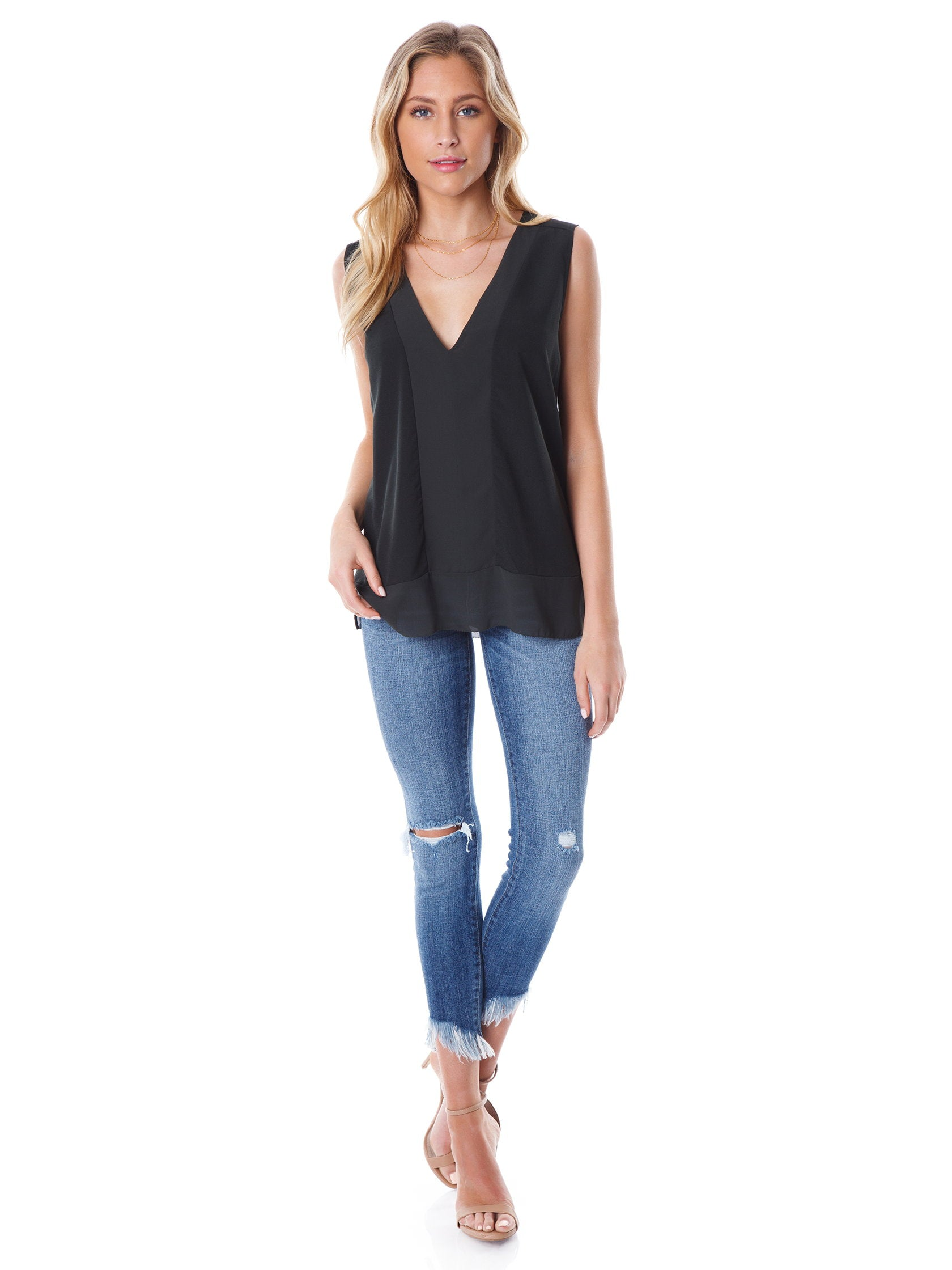 Girl wearing a top rental from French Connection called Classic Crepe Light Sleeveless Top