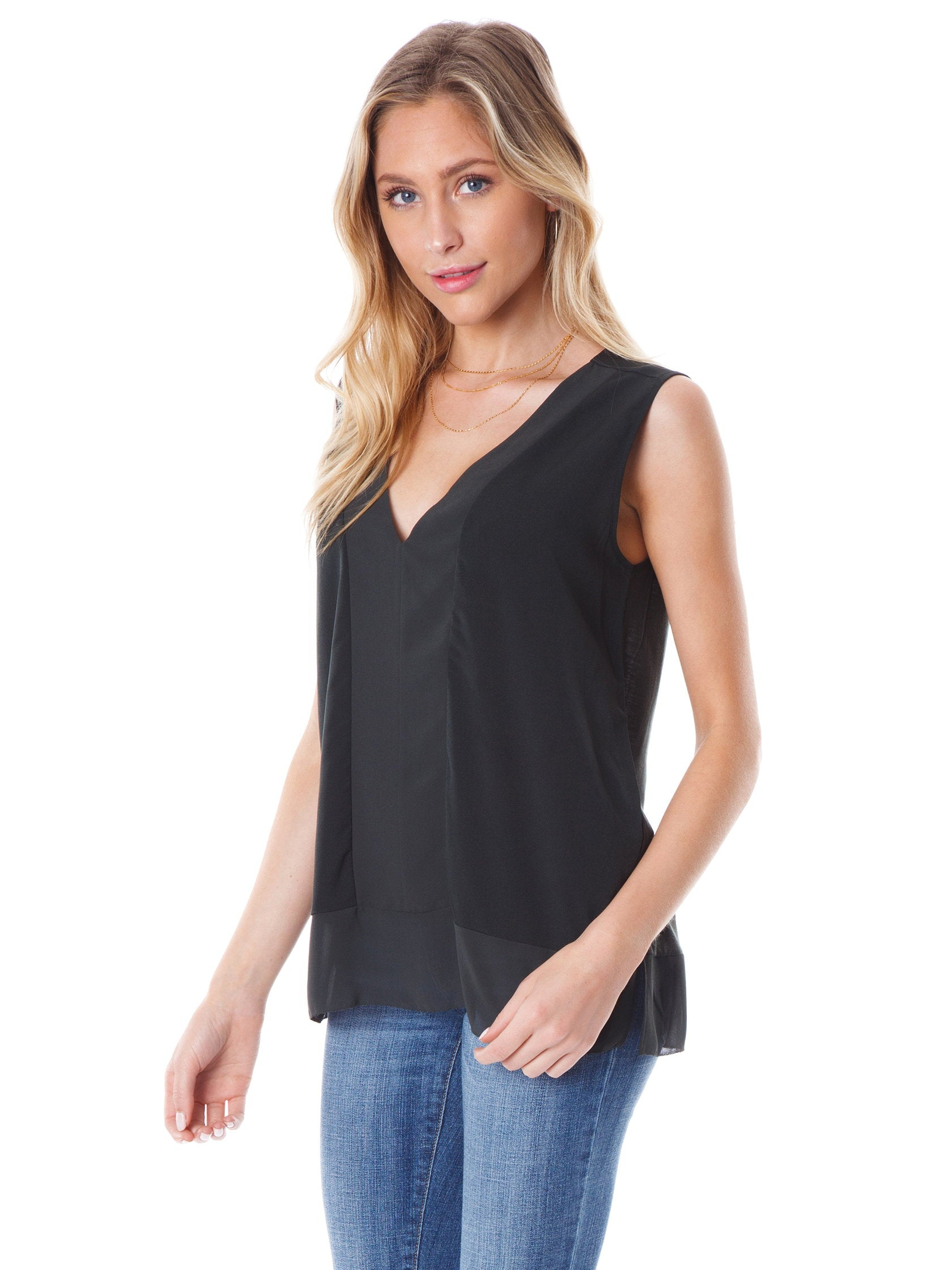 Women wearing a top rental from French Connection called Classic Crepe Light Sleeveless Top