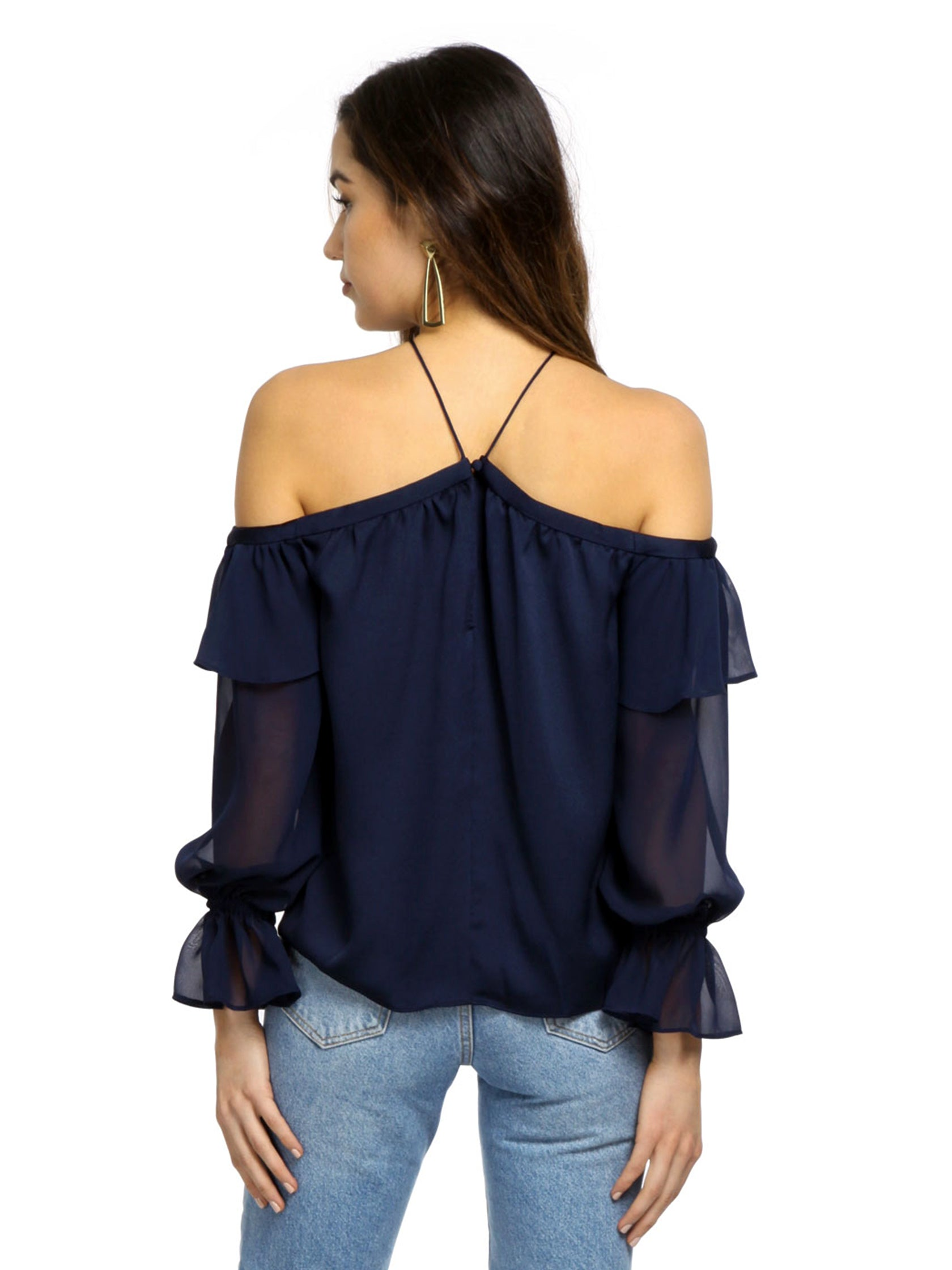 Women outfit in a top rental from 1.STATE called Cold Shoulder Halter Top