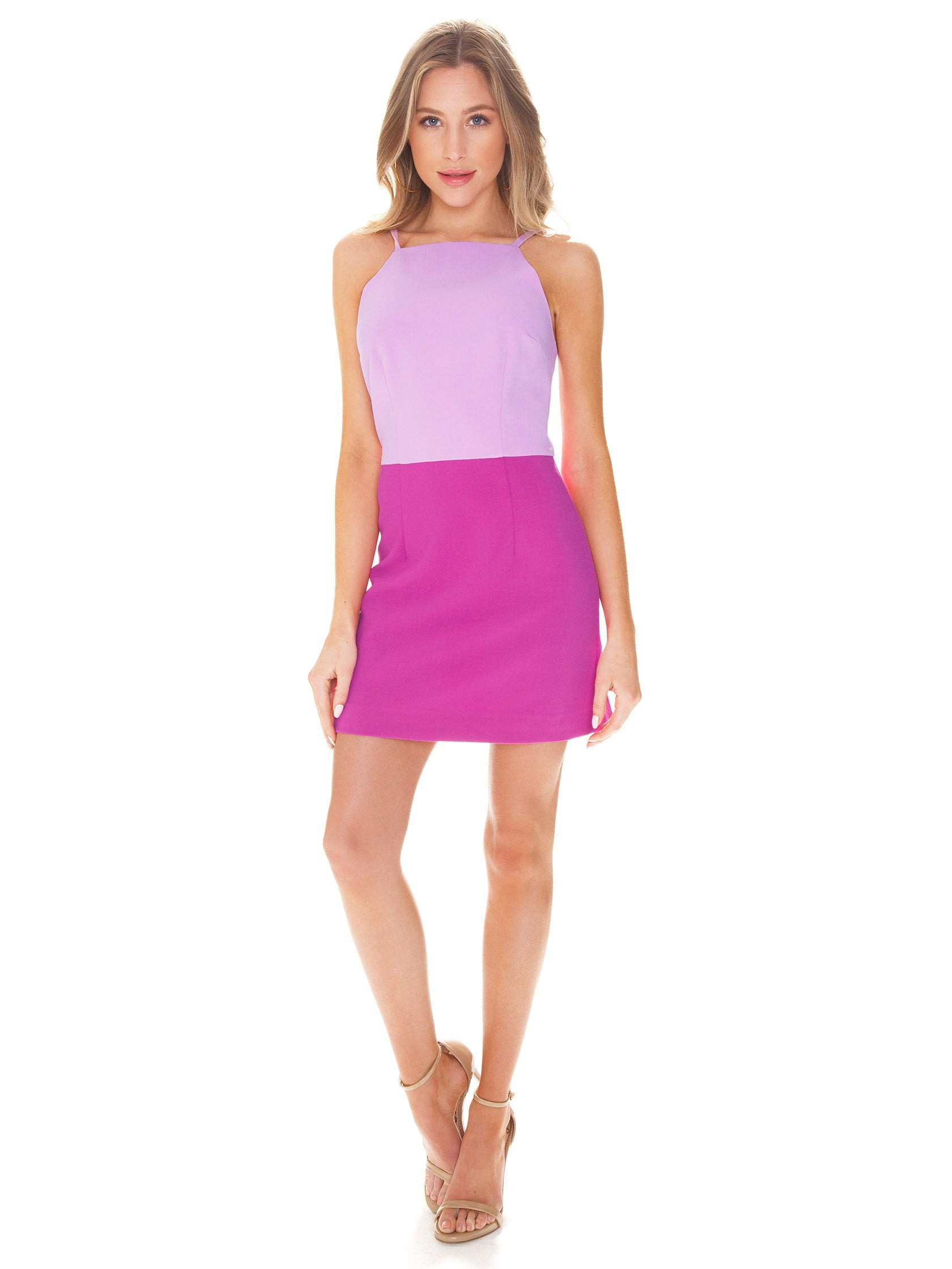 Girl outfit in a dress rental from French Connection called Color Block Whisper Dress