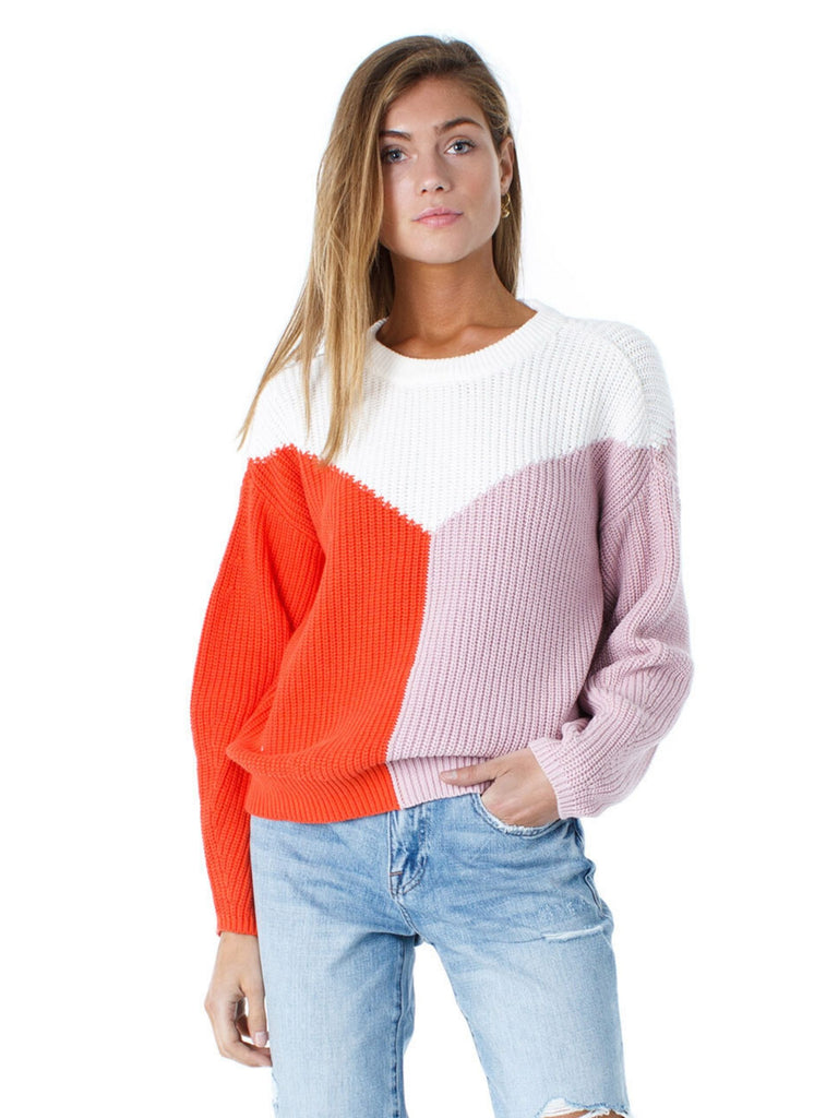 Women wearing a sweater rental from 1.STATE called Colorblock Crewneck Cotton Sweater
