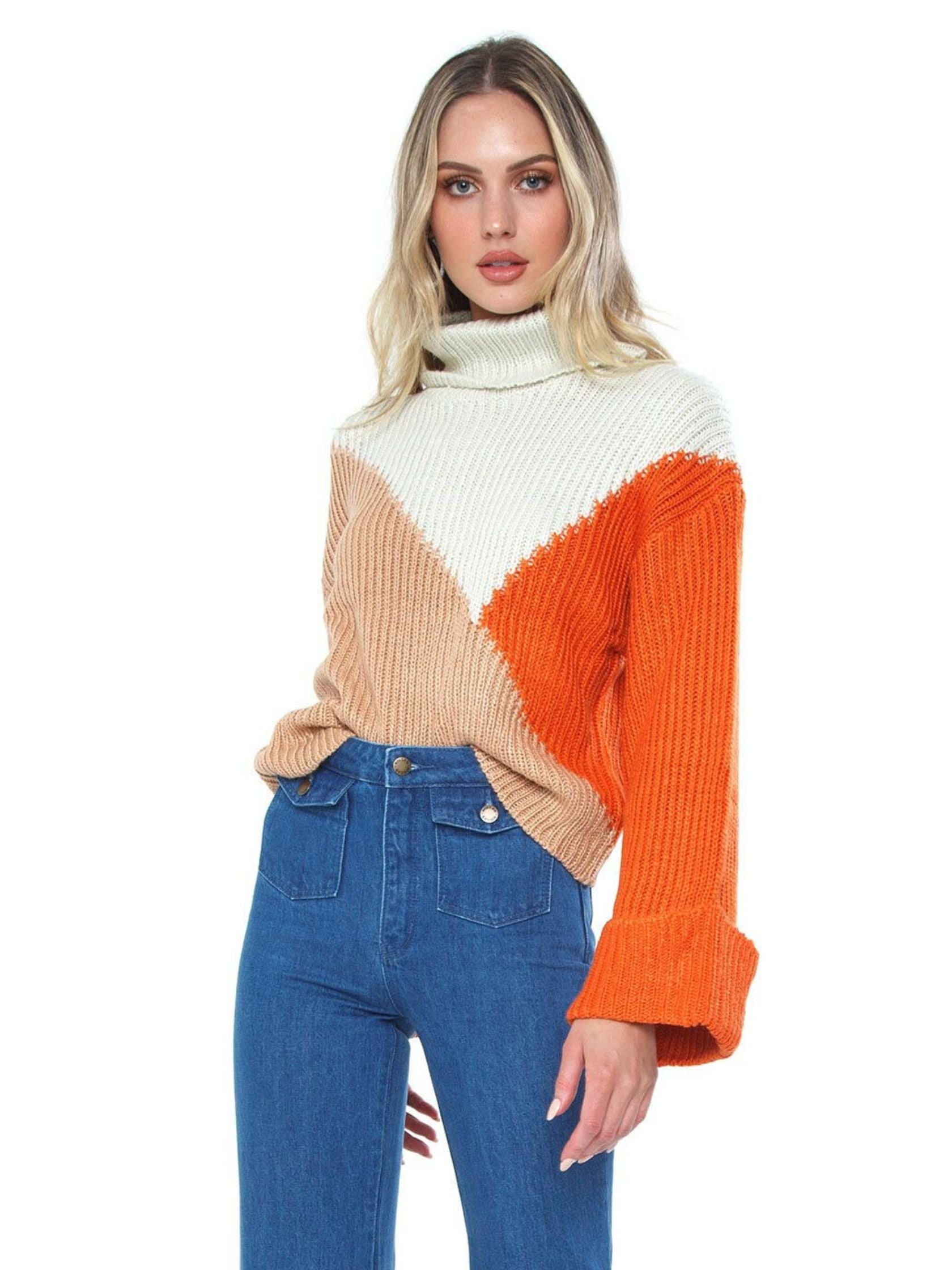 Woman wearing a sweater rental from MINKPINK called Colour Block Jumper