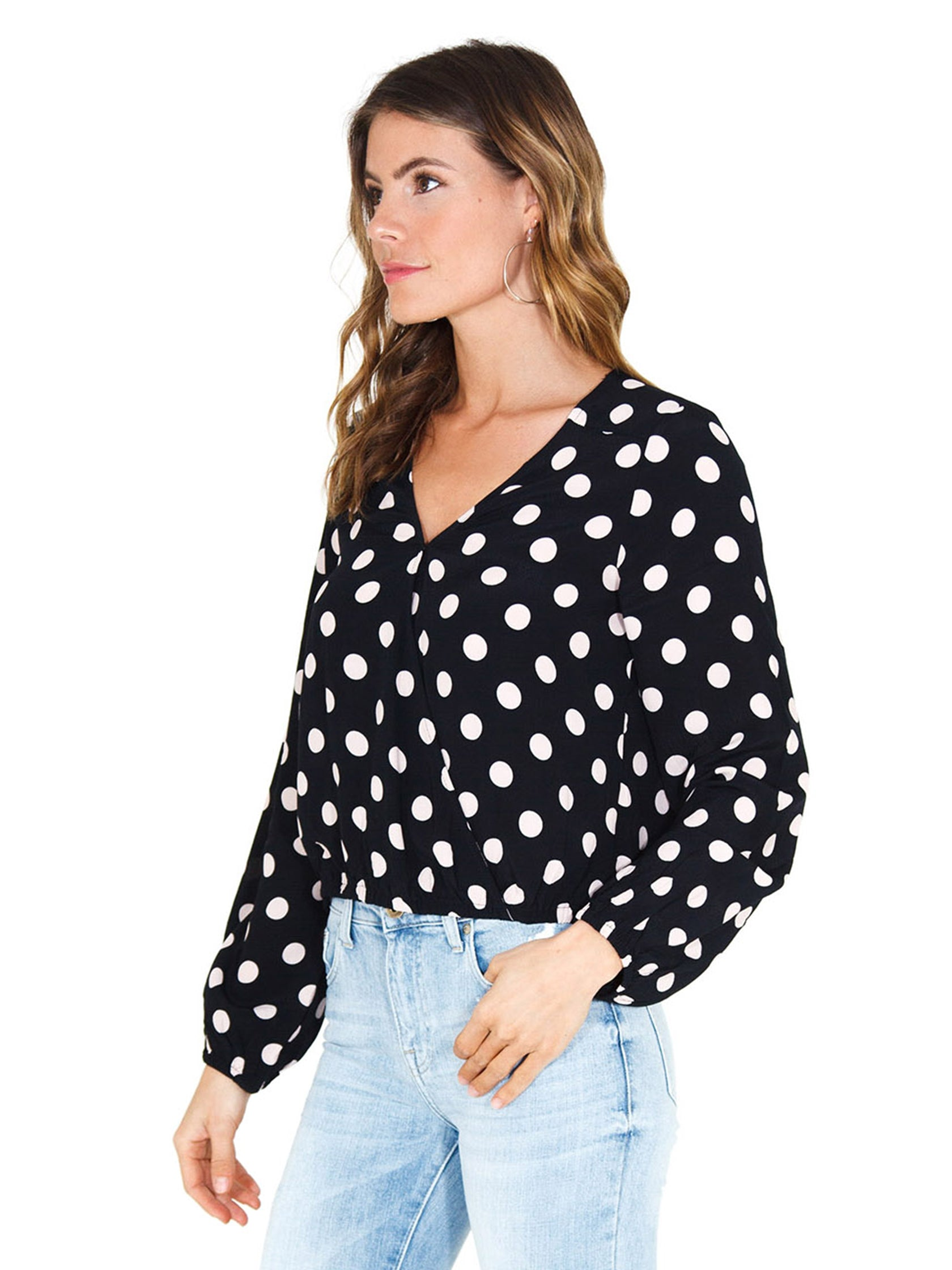 Women wearing a top rental from SANCTUARY called Cori Blouson Sleeve Blouse