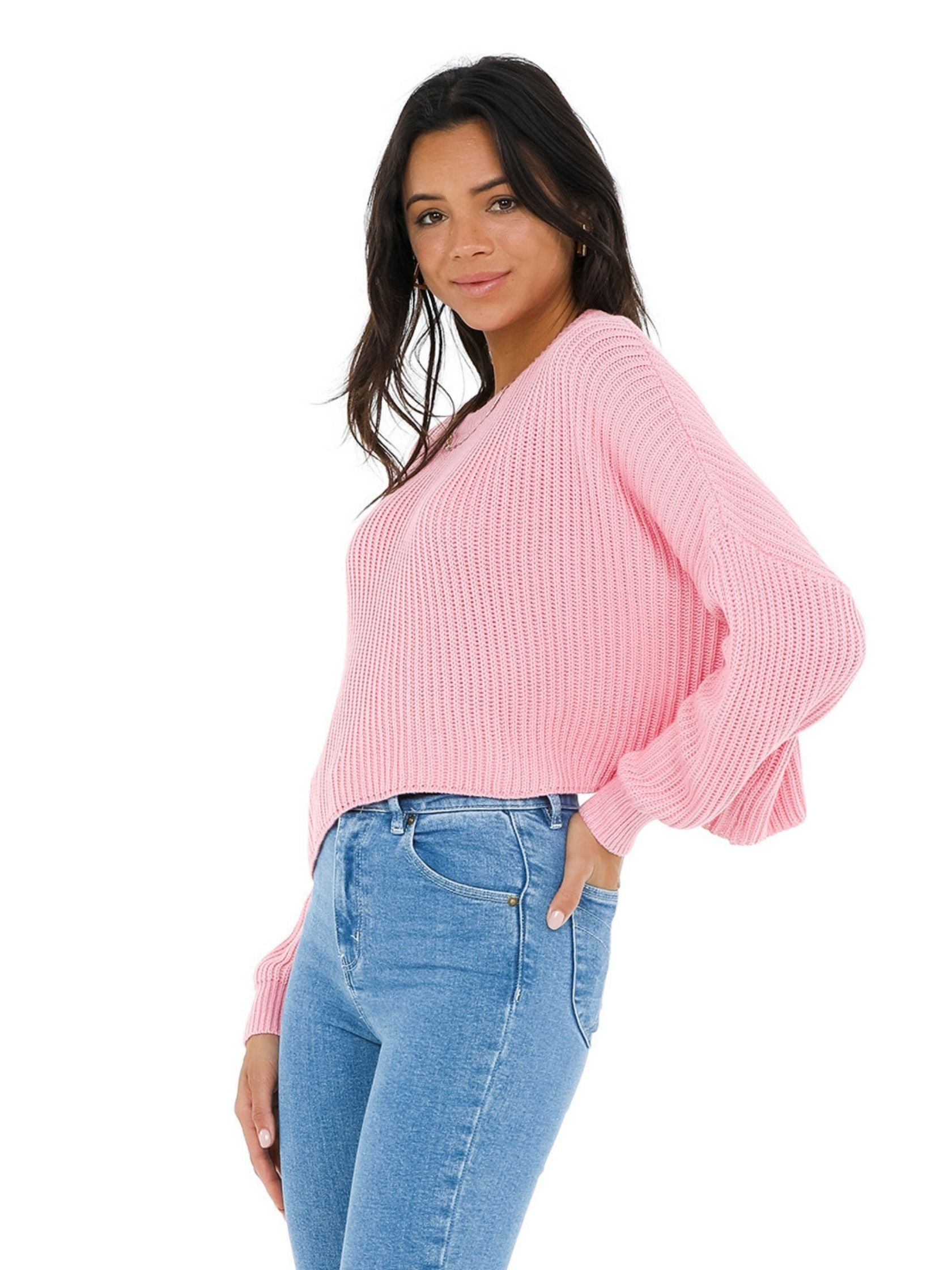Women wearing a sweater rental from FashionPass called Cozy Up With Me Sweater