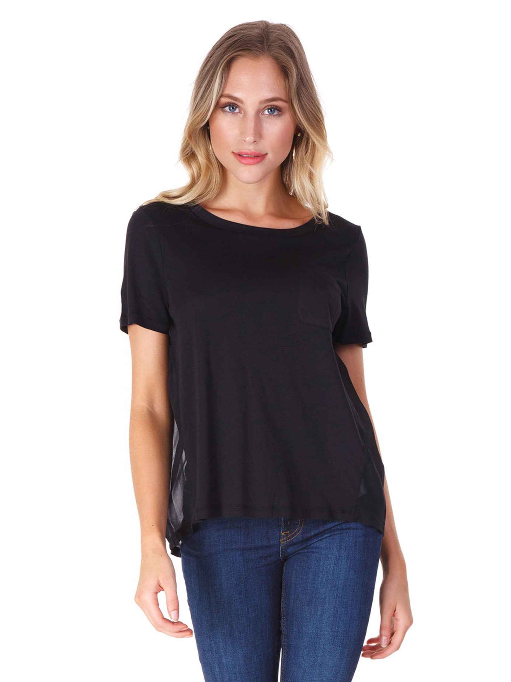 Woman wearing a top rental from French Connection called Crepe Light Raw Edge Top