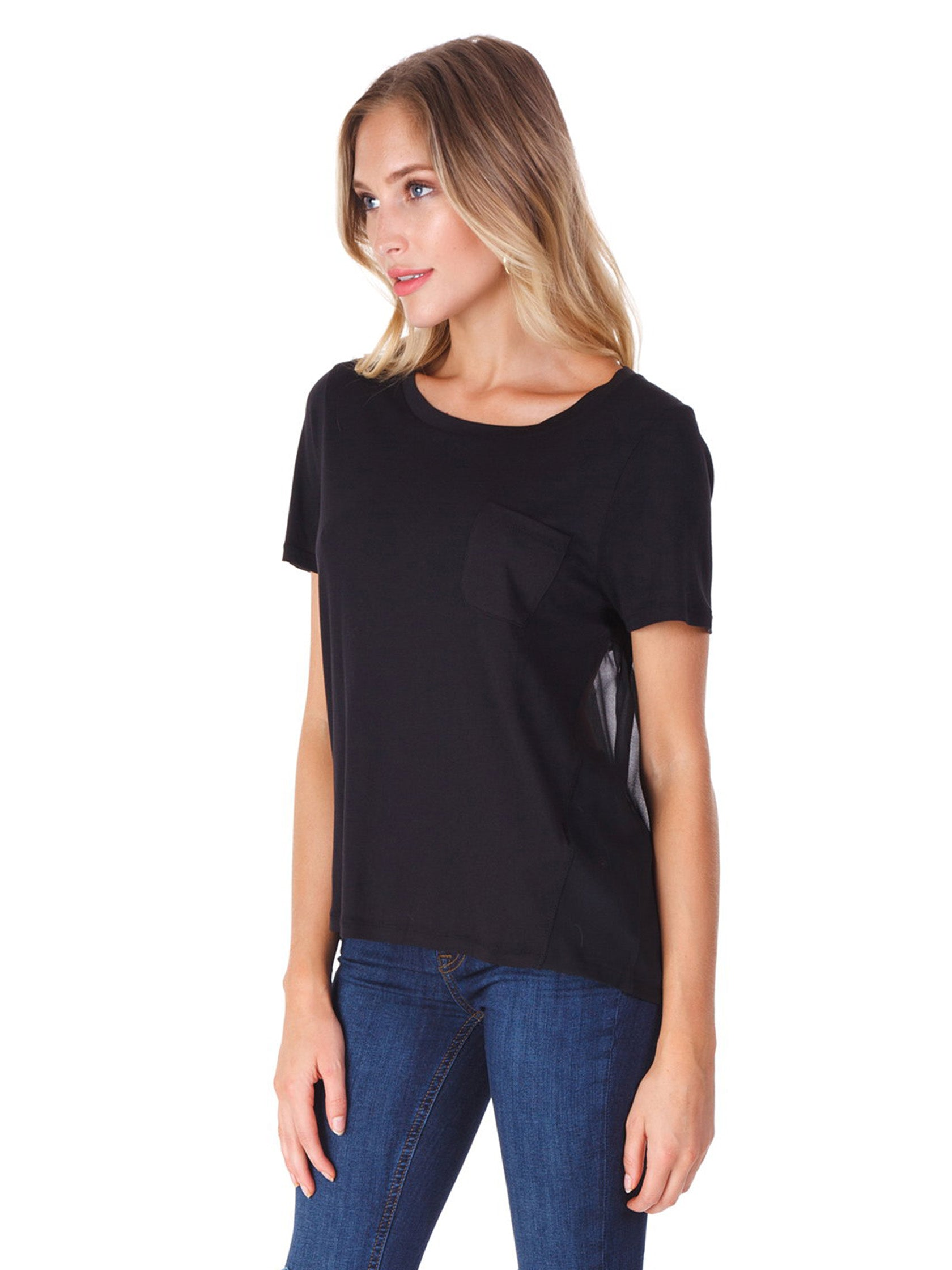 Women wearing a top rental from French Connection called Crepe Light Raw Edge Top