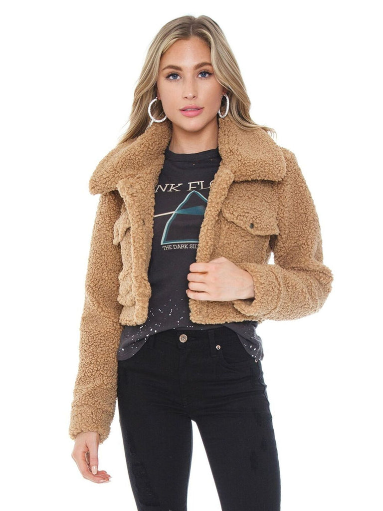 Women wearing a jacket rental from BARDOT called Crop Sherpa Jacket