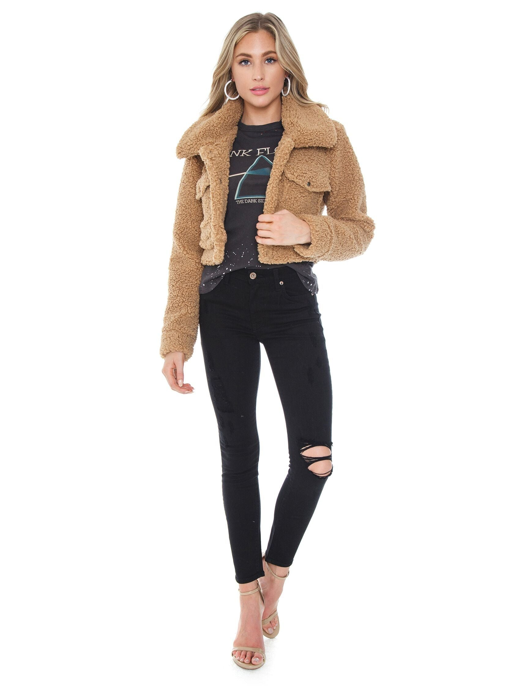 Girl wearing a jacket rental from BARDOT called Crop Sherpa Jacket