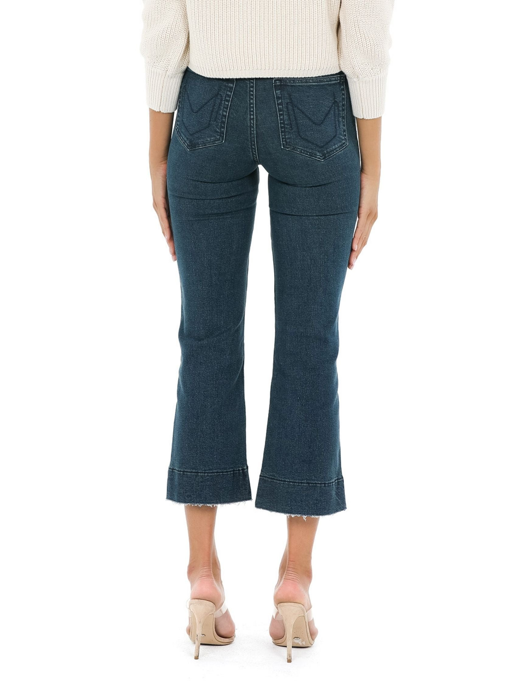 Women outfit in a denim rental from Show Me Your Mumu called Cropped Farah Trouser