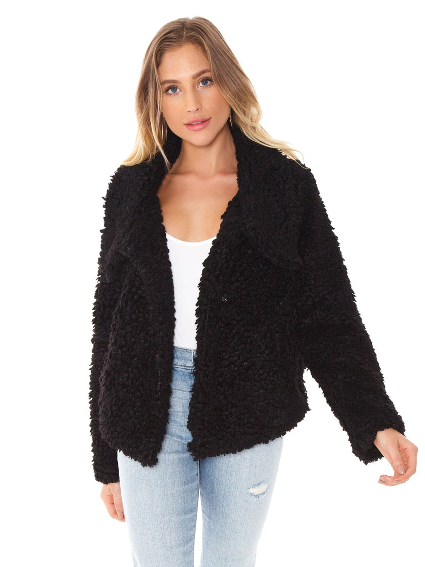 Woman wearing a jacket rental from Bishop + Young called Faux Fur Jacket