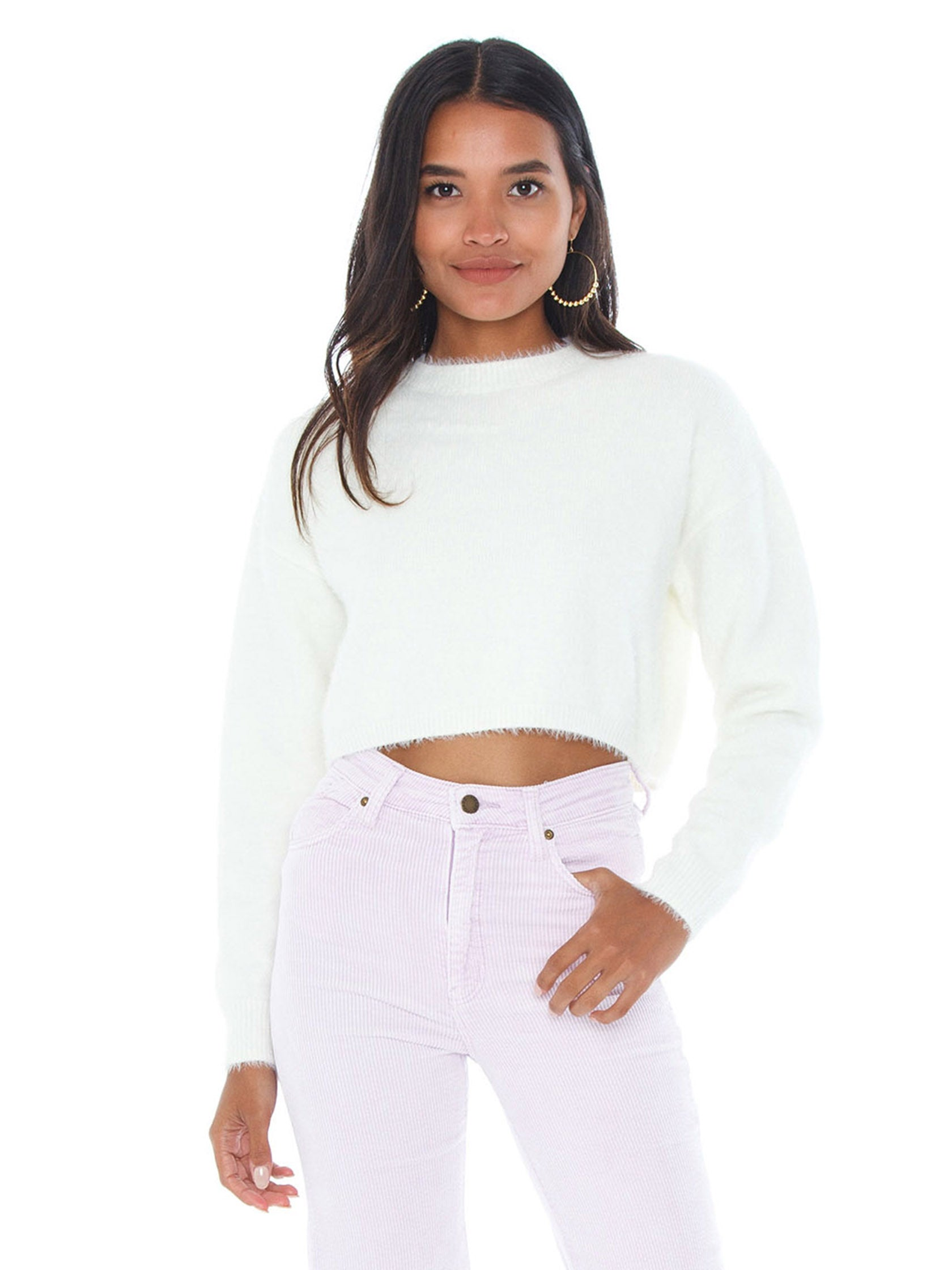 Woman wearing a sweater rental from BARDOT called Cropped Fluffy Knit