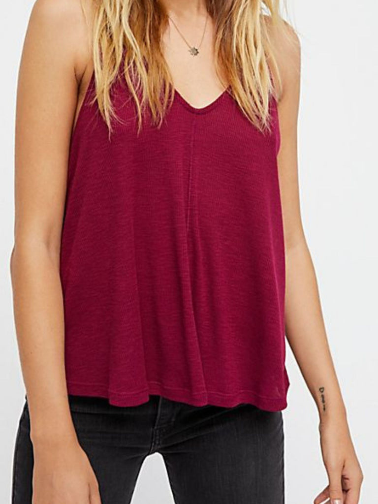 Woman wearing a cami rental from Free People called Rory Rib Knit Beanie