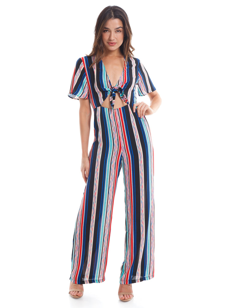 Women wearing a jumpsuit rental from Lush called V-neck Ruffle Sleeve Top