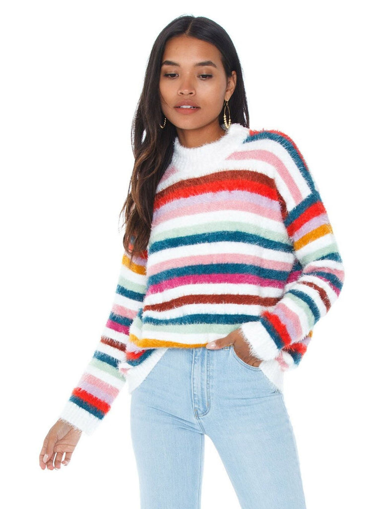 Women wearing a sweater rental from MINKPINK called Debby Stripe Sweater