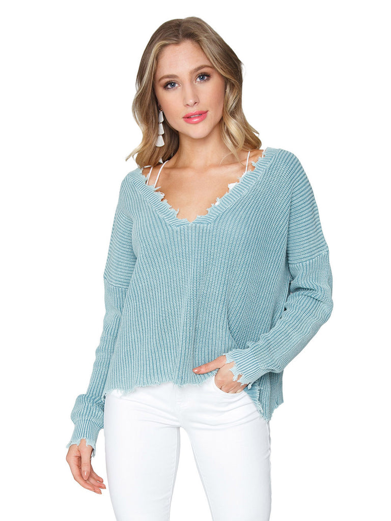 Women wearing a sweater rental from FashionPass called V Neck Sweater