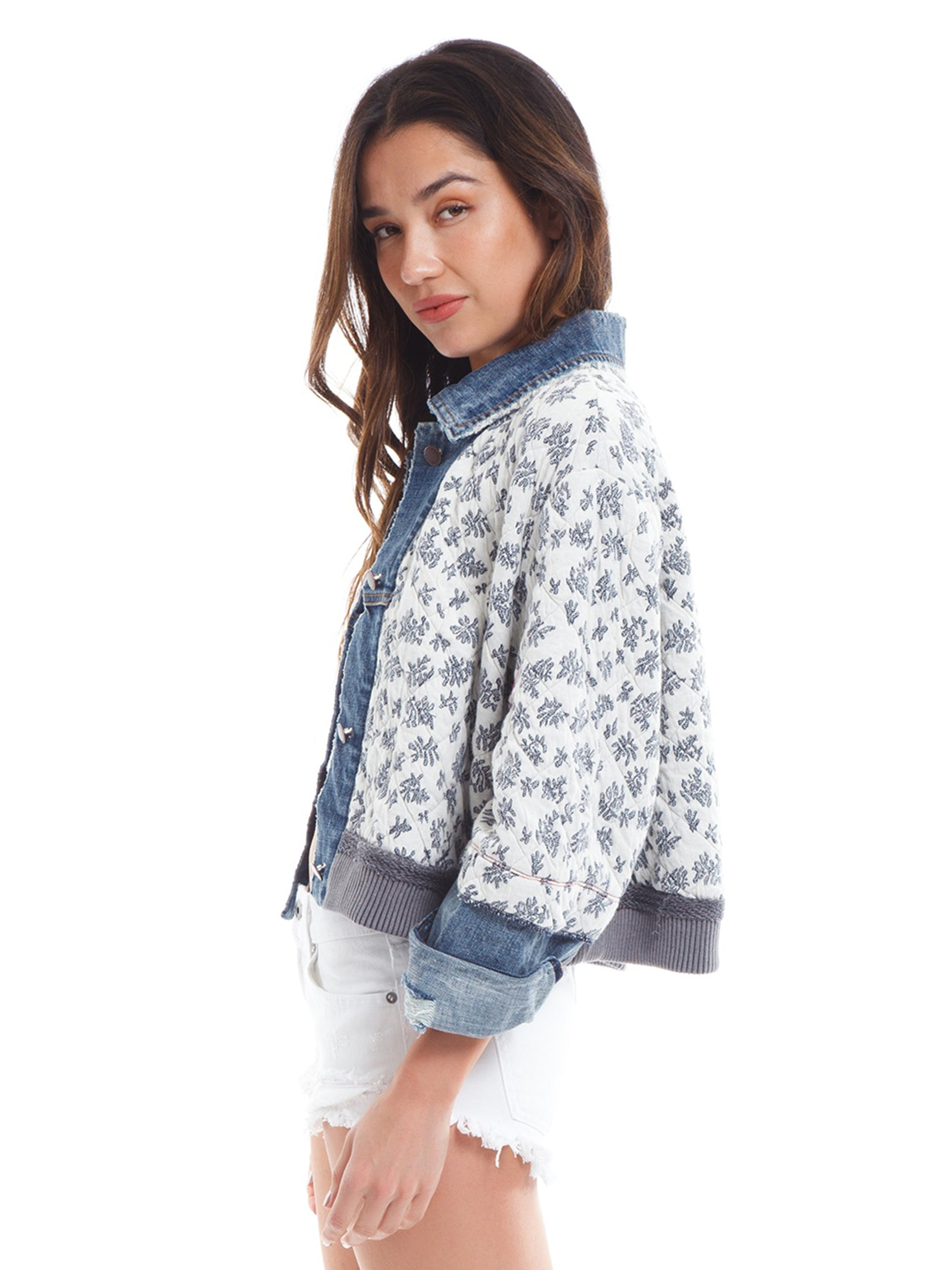 Women wearing a jacket rental from Free People called Ditsy Denim Jacket