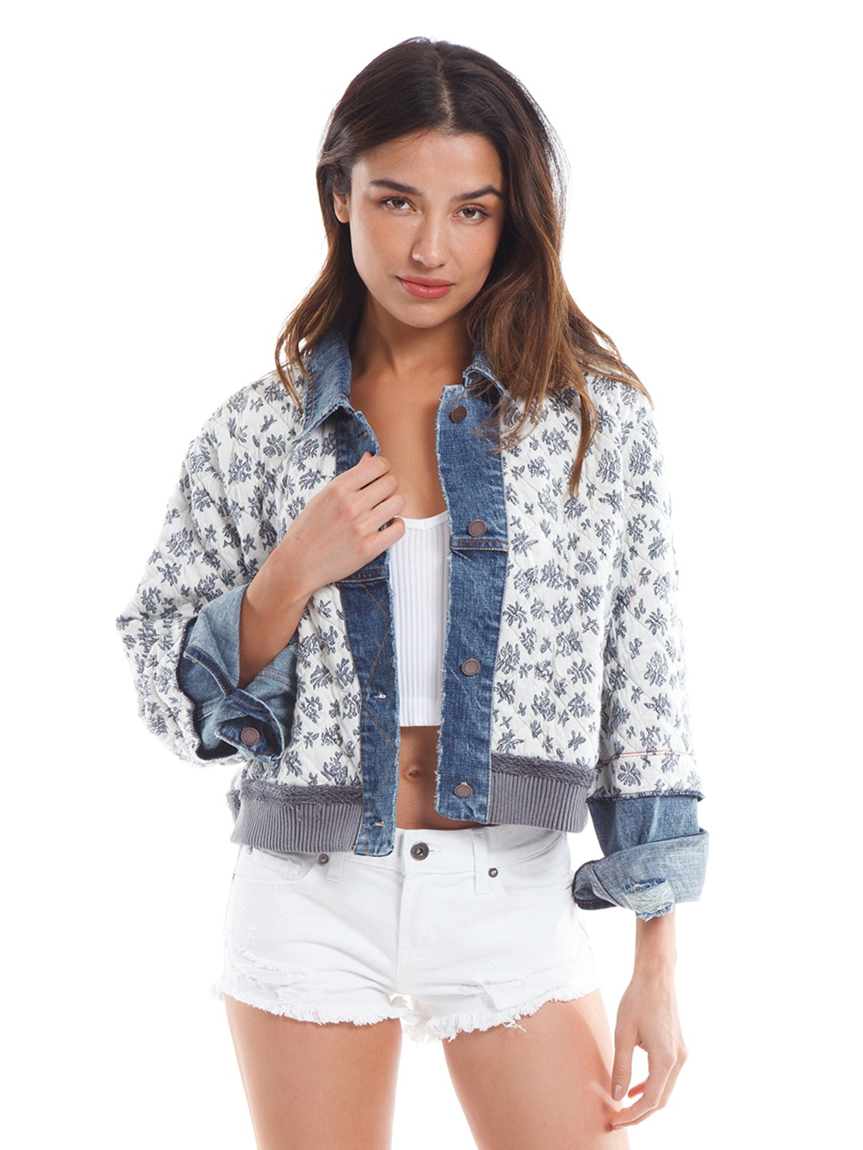 Girl outfit in a jacket rental from Free People called Ditsy Denim Jacket