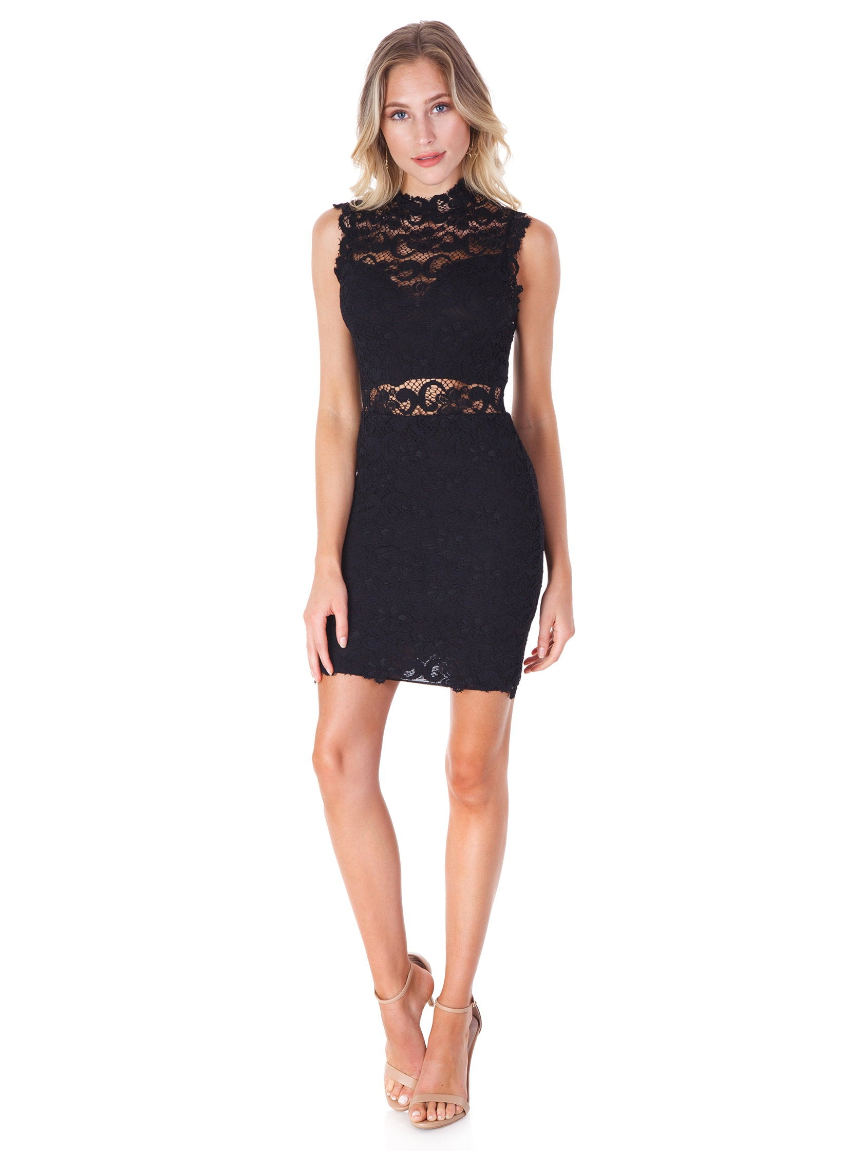 Girl outfit in a dress rental from Nightcap Clothing called Dixie Lace Cutout Mini Dress