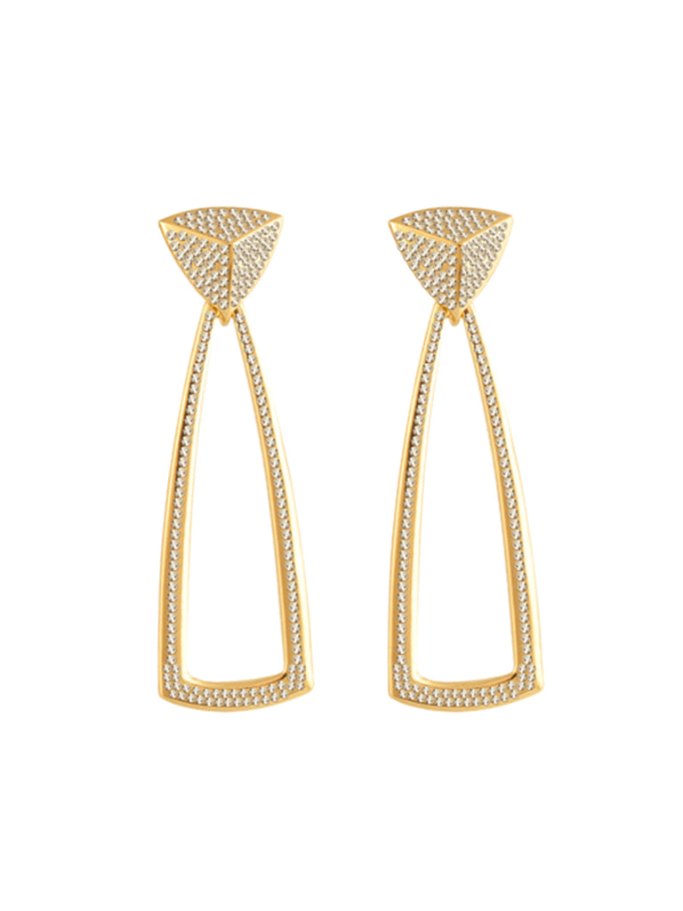 Women wearing a earrings rental from House of Harlow 1960 called Door Knocker Earrings