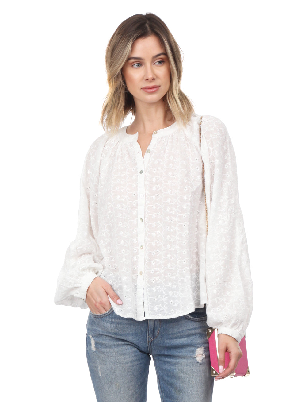 Woman wearing a top rental from Free People called Down From The Clouds Peasant Top