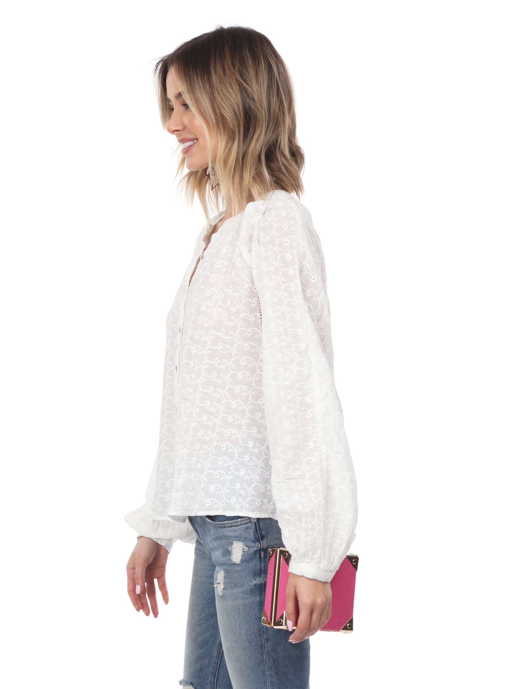 Women wearing a top rental from Free People called Down From The Clouds Peasant Top