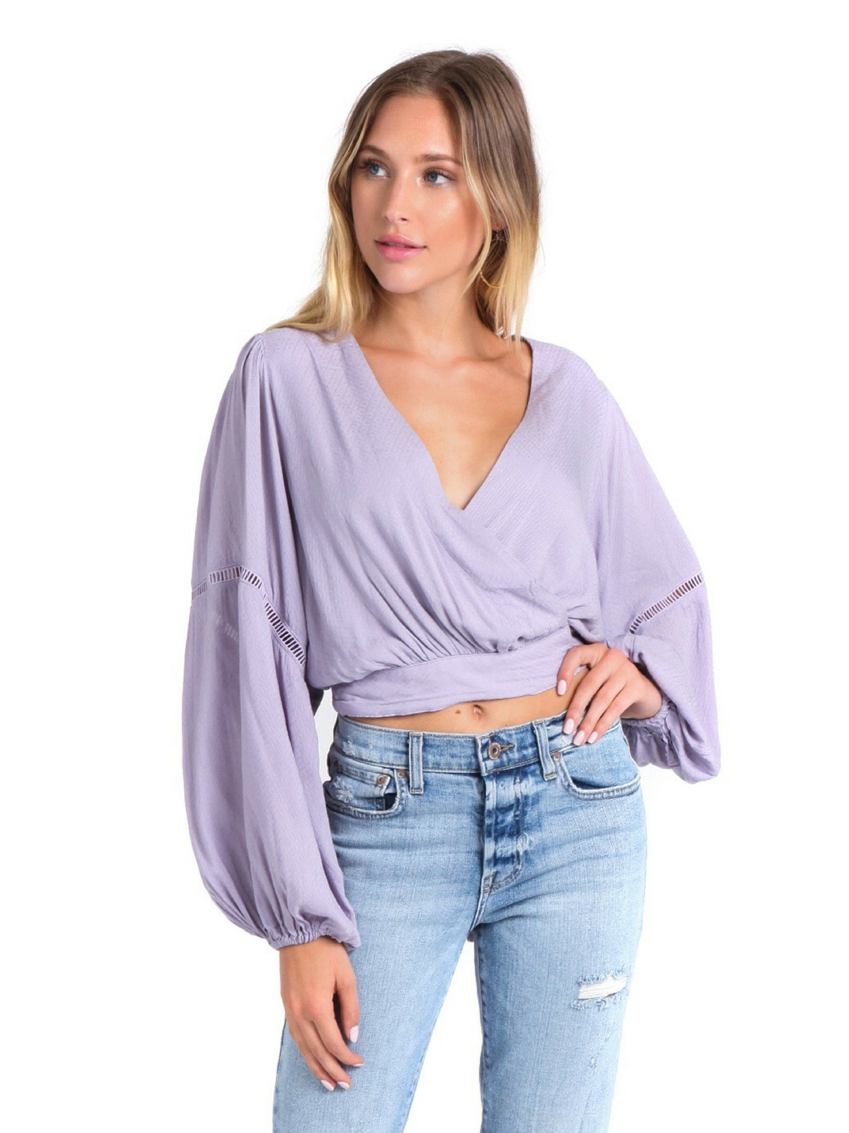 Girl outfit in a top rental from Free People called Dream Girl Wrap Top