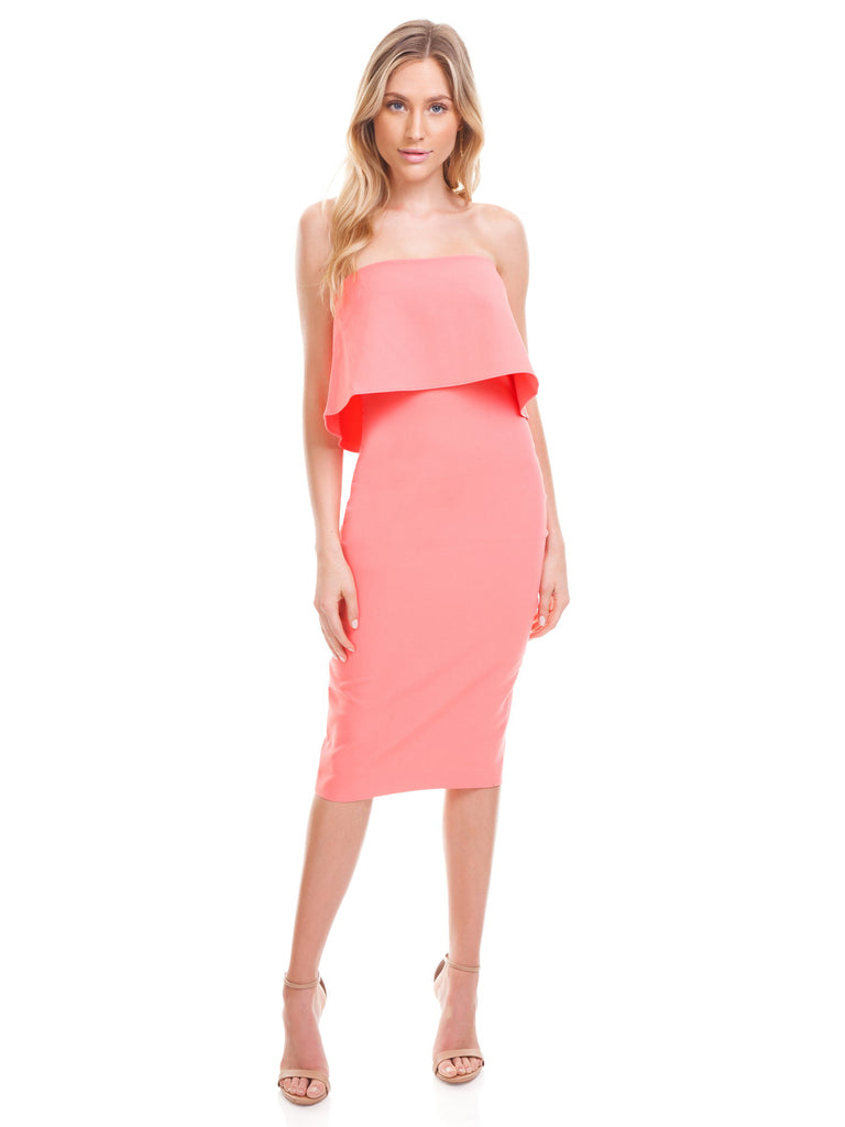 Girl outfit in a dress rental from LIKELY called Tiffany One-shoulder Midi Dress