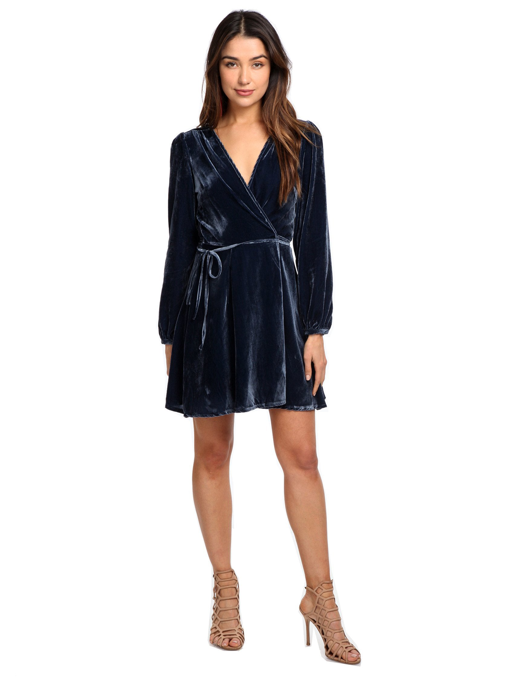 Girl outfit in a dress rental from YUMI KIM called Duchess Velvet Wrap Dress