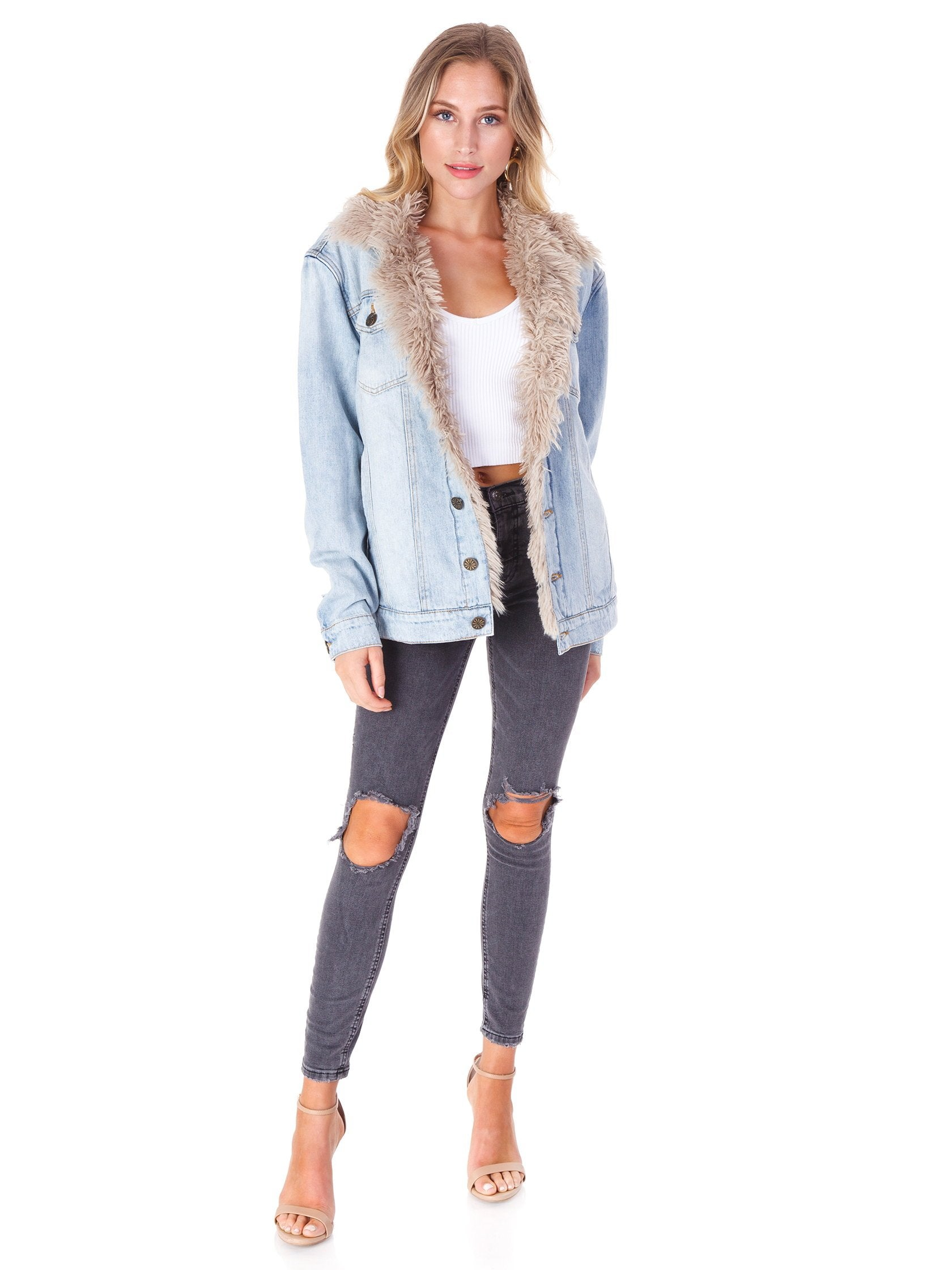 Girl wearing a jacket rental from Show Me Your Mumu called Durado Denim Jacket