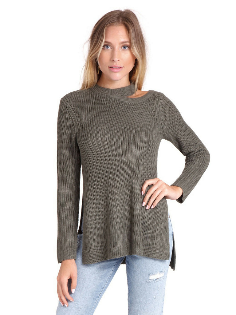 Woman wearing a sweater rental from BB Dakota called Ruffle Sleeve Striped Sweater