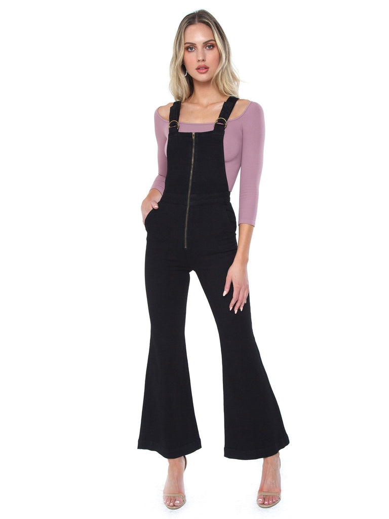 Women wearing a jumpsuit rental from ROLLAS called Light Weight Sweaters L/s Tie Front Cardigan