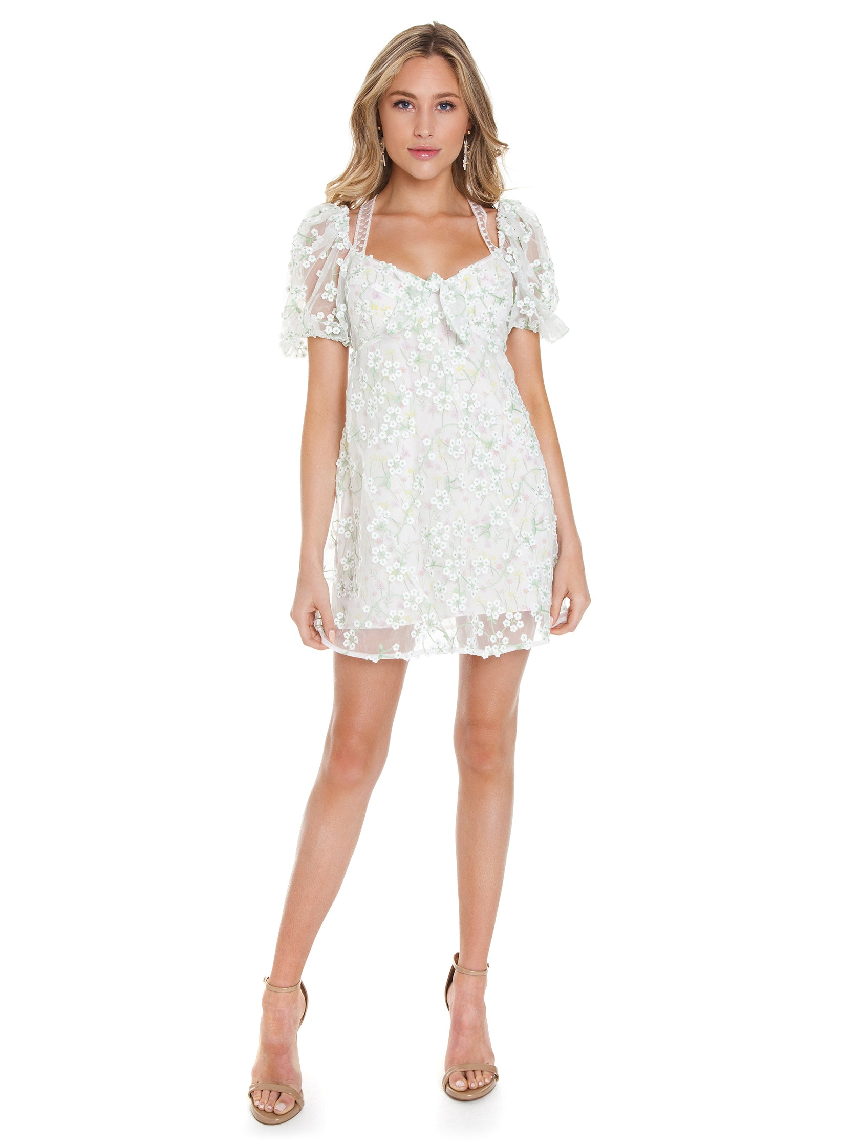 9eae9c92de60 Girl outfit in a dress rental from For Love & Lemons called Eclair Mini  Dress