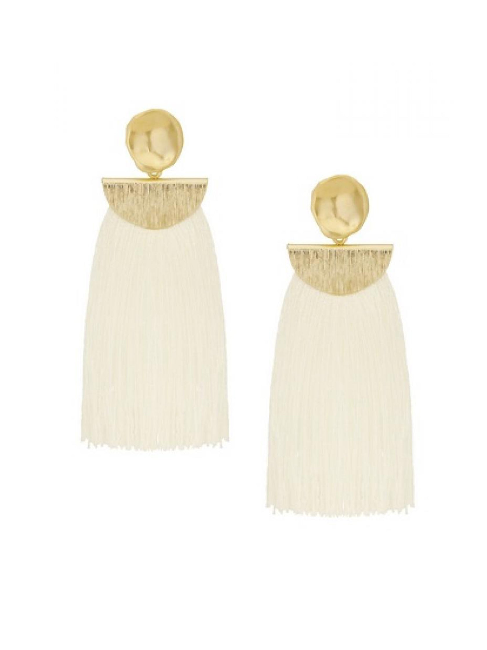 Women outfit in a earrings rental from Five and Two called Ellie White Tassel Earring