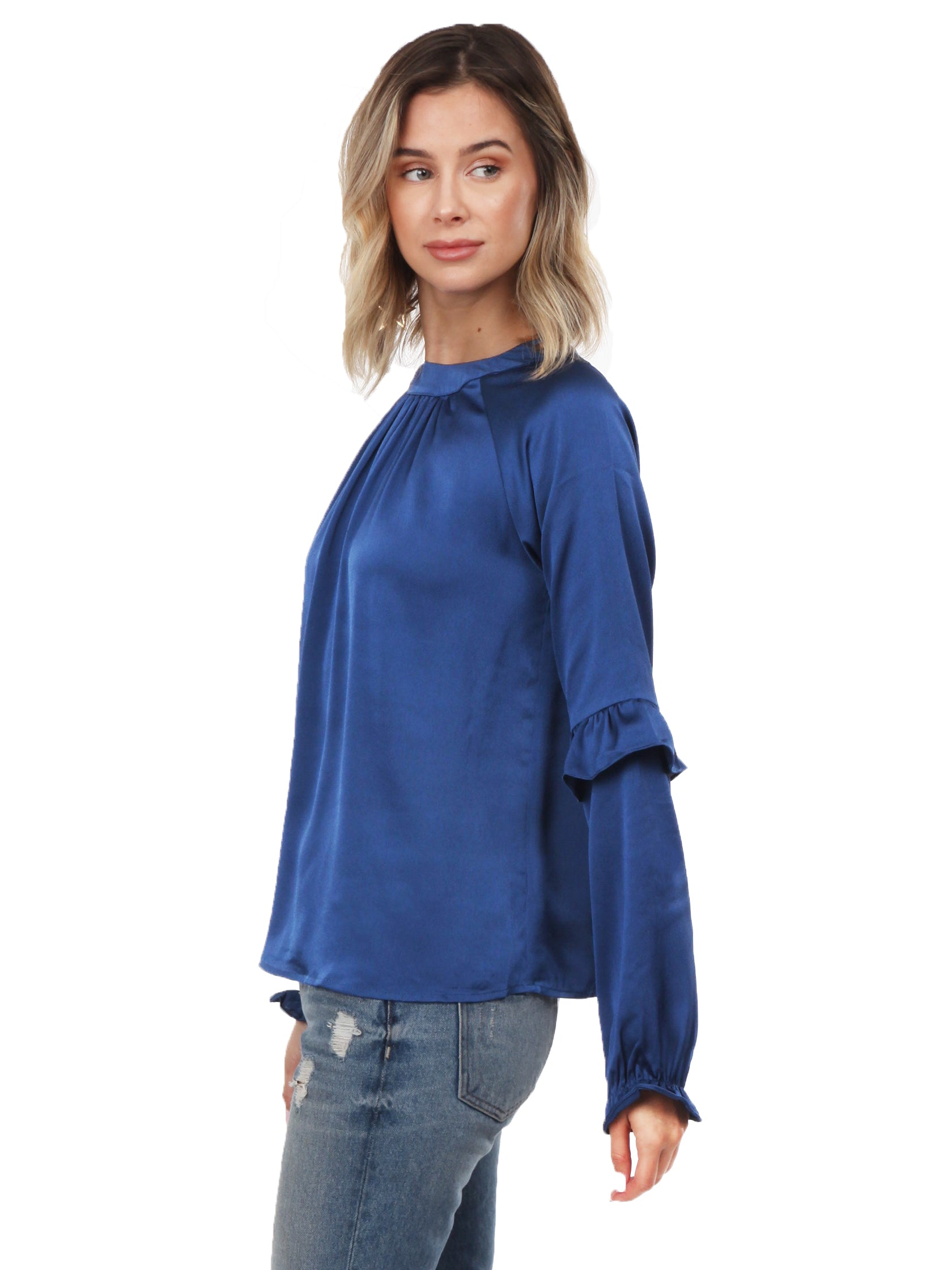 Women outfit in a top rental from LOST + WANDER called Elsa L/s Satin Top