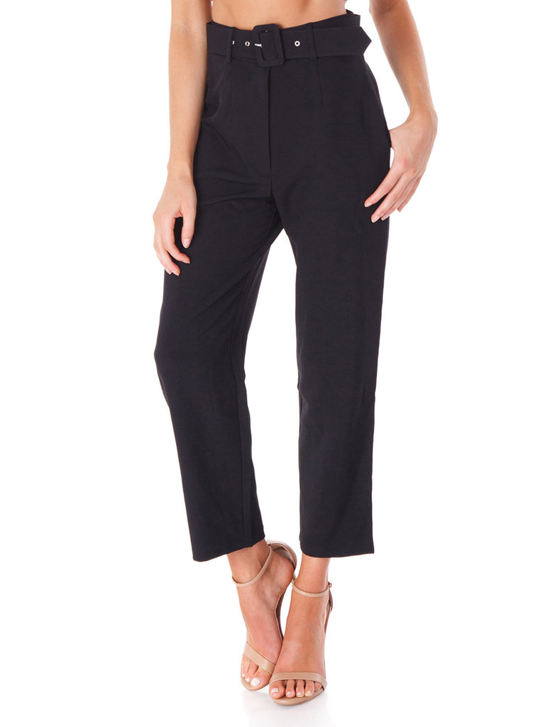 Women wearing a pants rental from WAYF called Essex Belted Pant