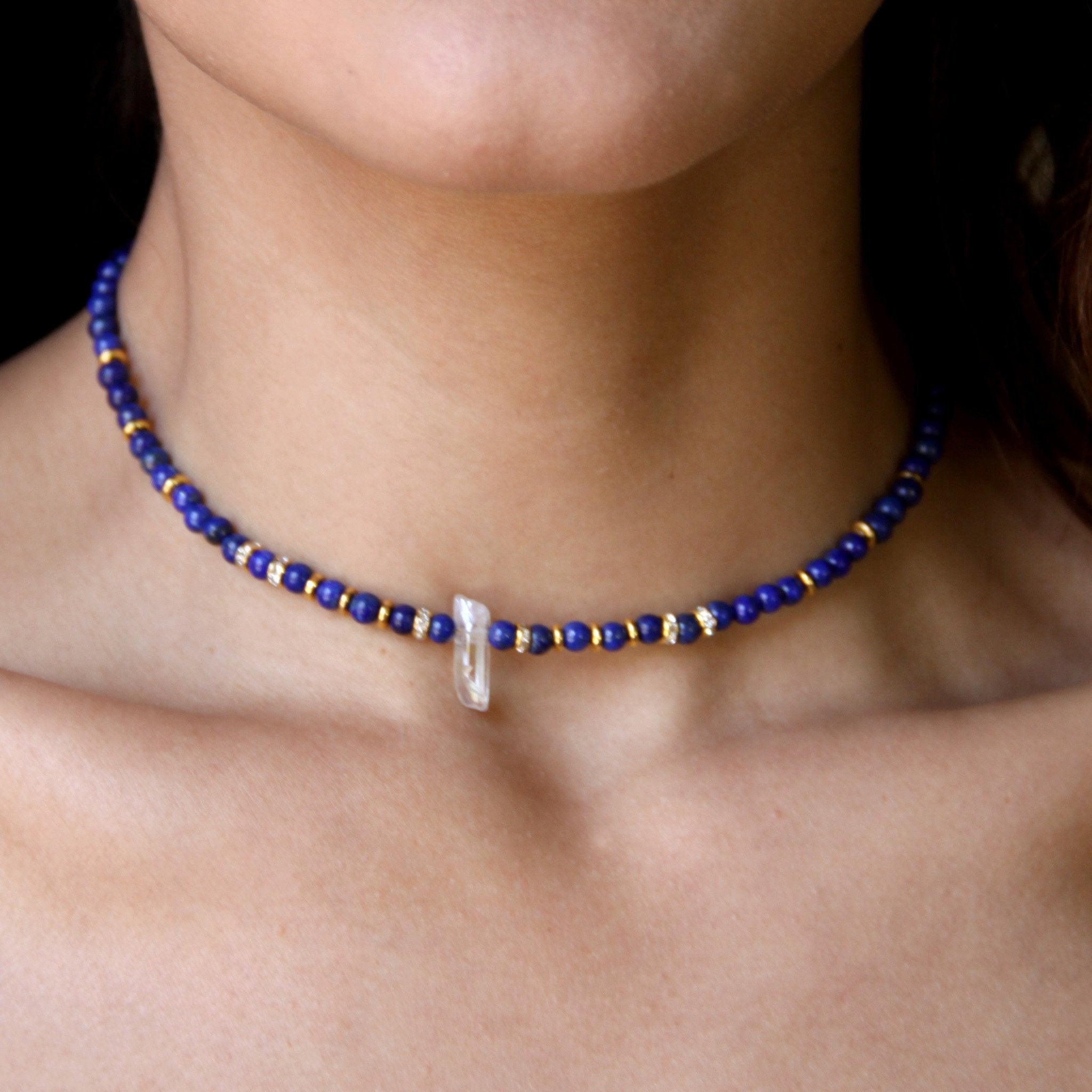 Girl outfit in a choker rental from Ettika called Crystal Arts Choker In Lapis And Gold