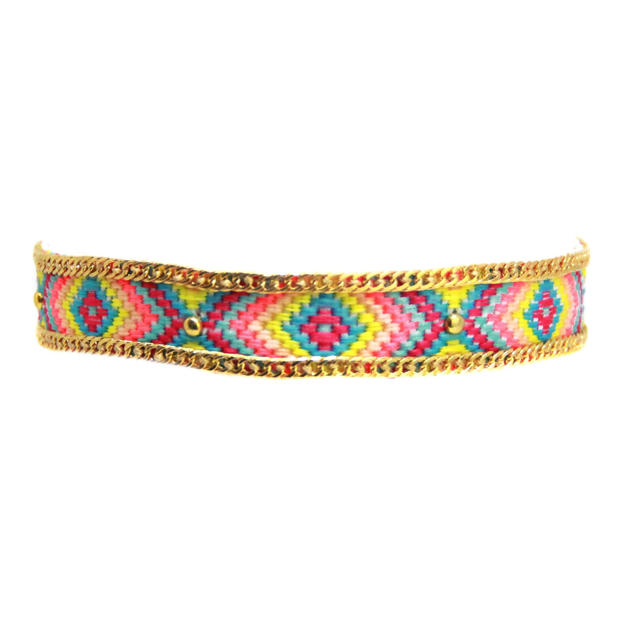 Woman wearing a choker rental from Ettika called Rainbow Gypsy Friendship Choker