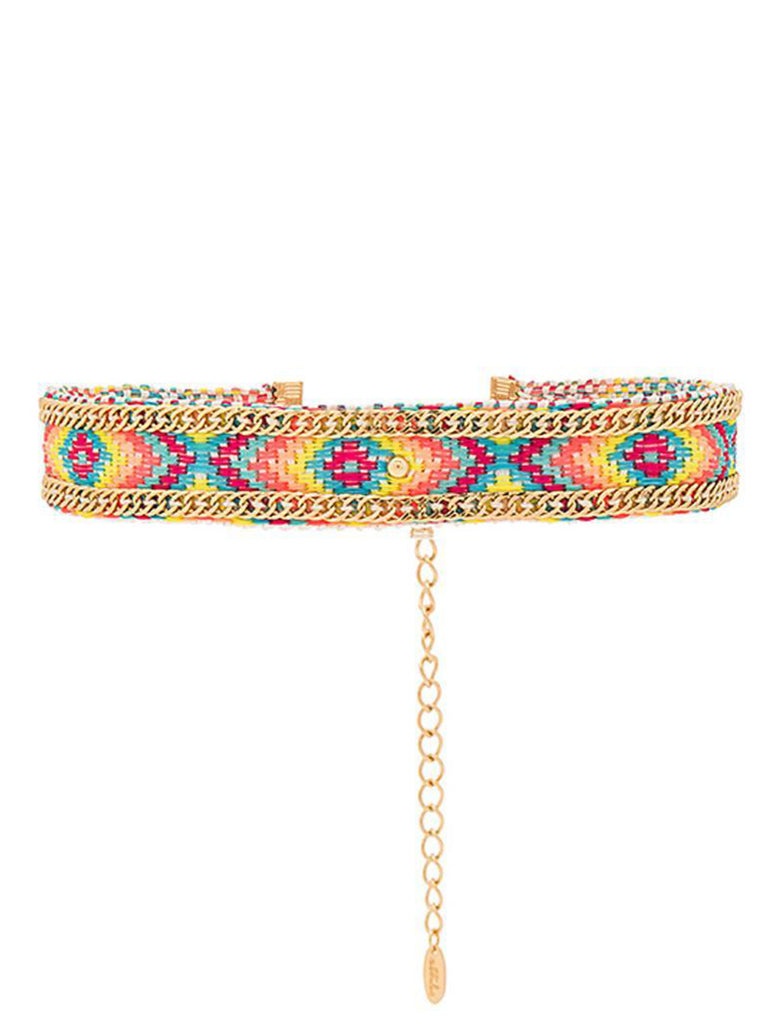 Women wearing a choker rental from Ettika called Rainbow Gypsy Friendship Choker