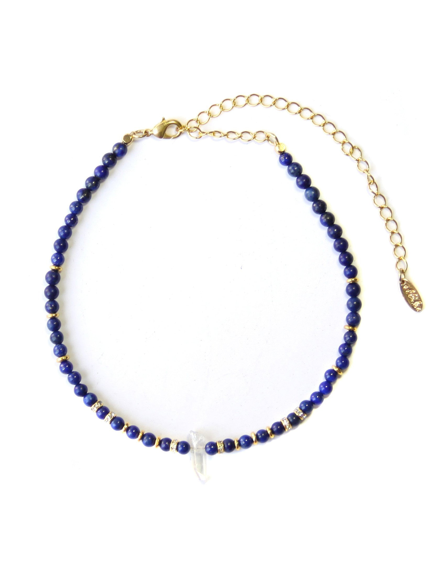 Girl wearing a choker rental from Ettika called Crystal Arts Choker In Lapis And Gold