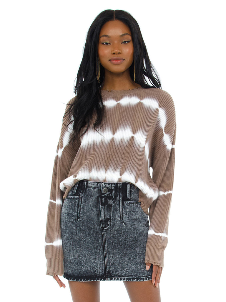 Woman wearing a sweater rental from PISTOLA called Stripe Mix Color Sweater
