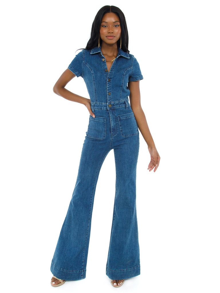 Women wearing a jumpsuit rental from Show Me Your Mumu called Everhart Jumpsuit