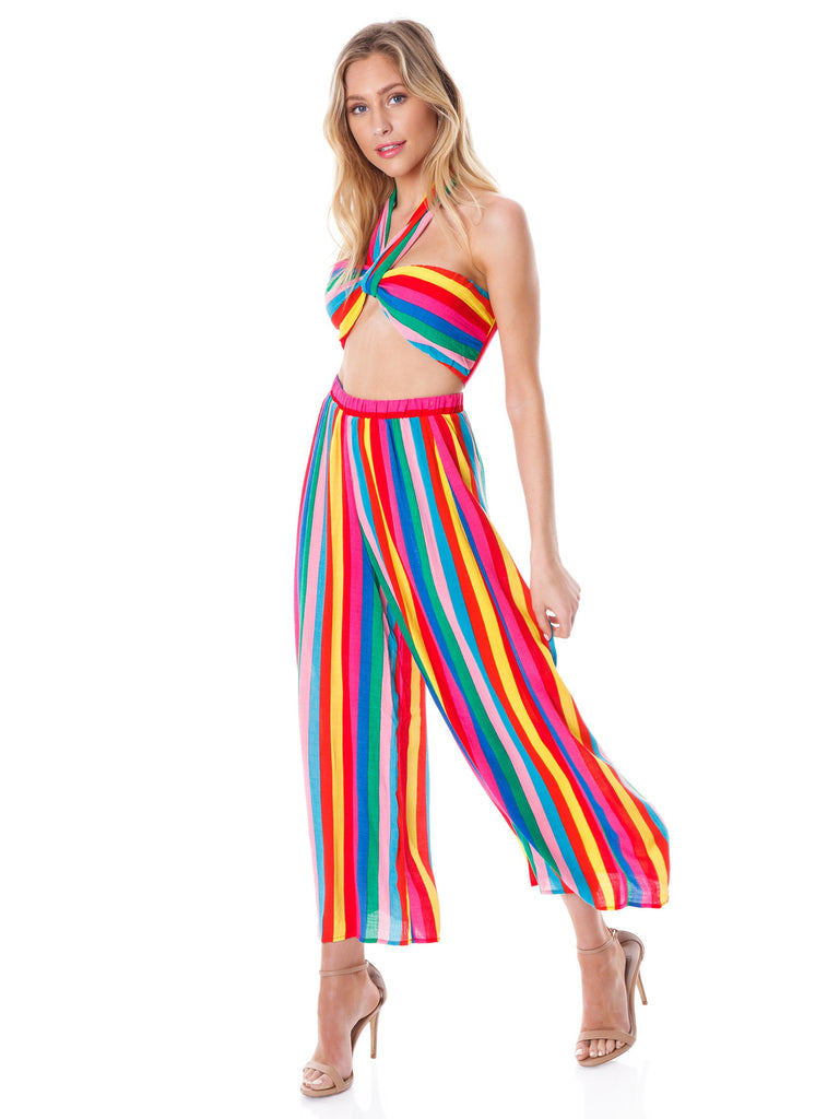 Women wearing a pants rental from Show Me Your Mumu called Explorer Pants