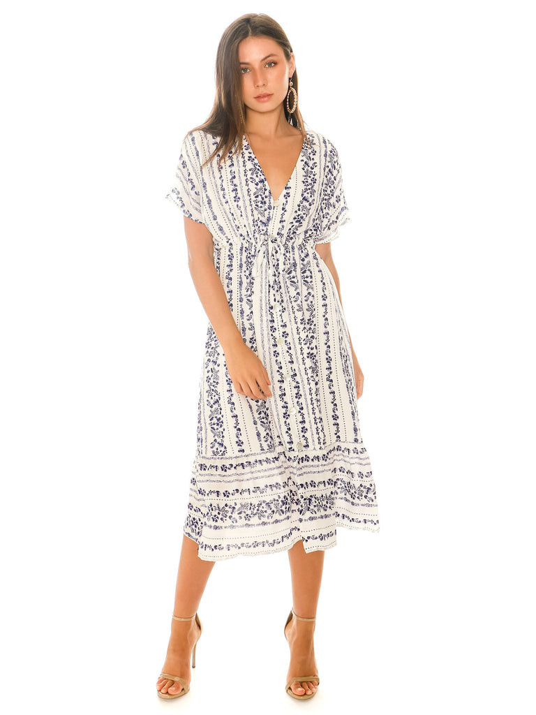 Women outfit in a dress rental from MINKPINK called Elsie Ruffle Wrap Dress