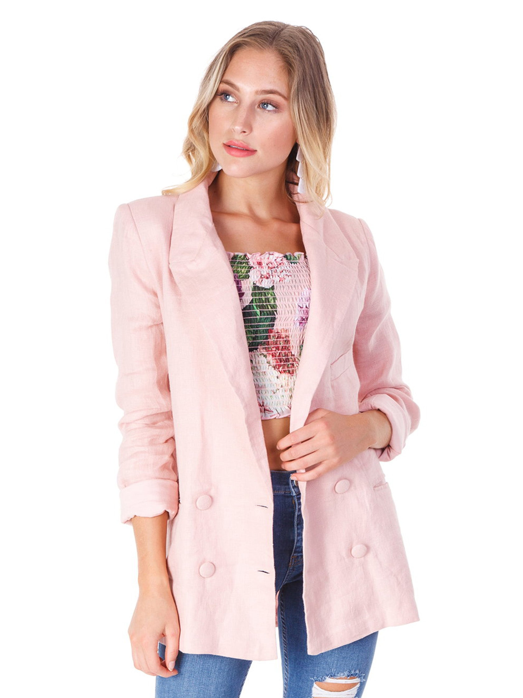 Girl outfit in a blazer rental from Lovers + Friends called Fanning Blazer
